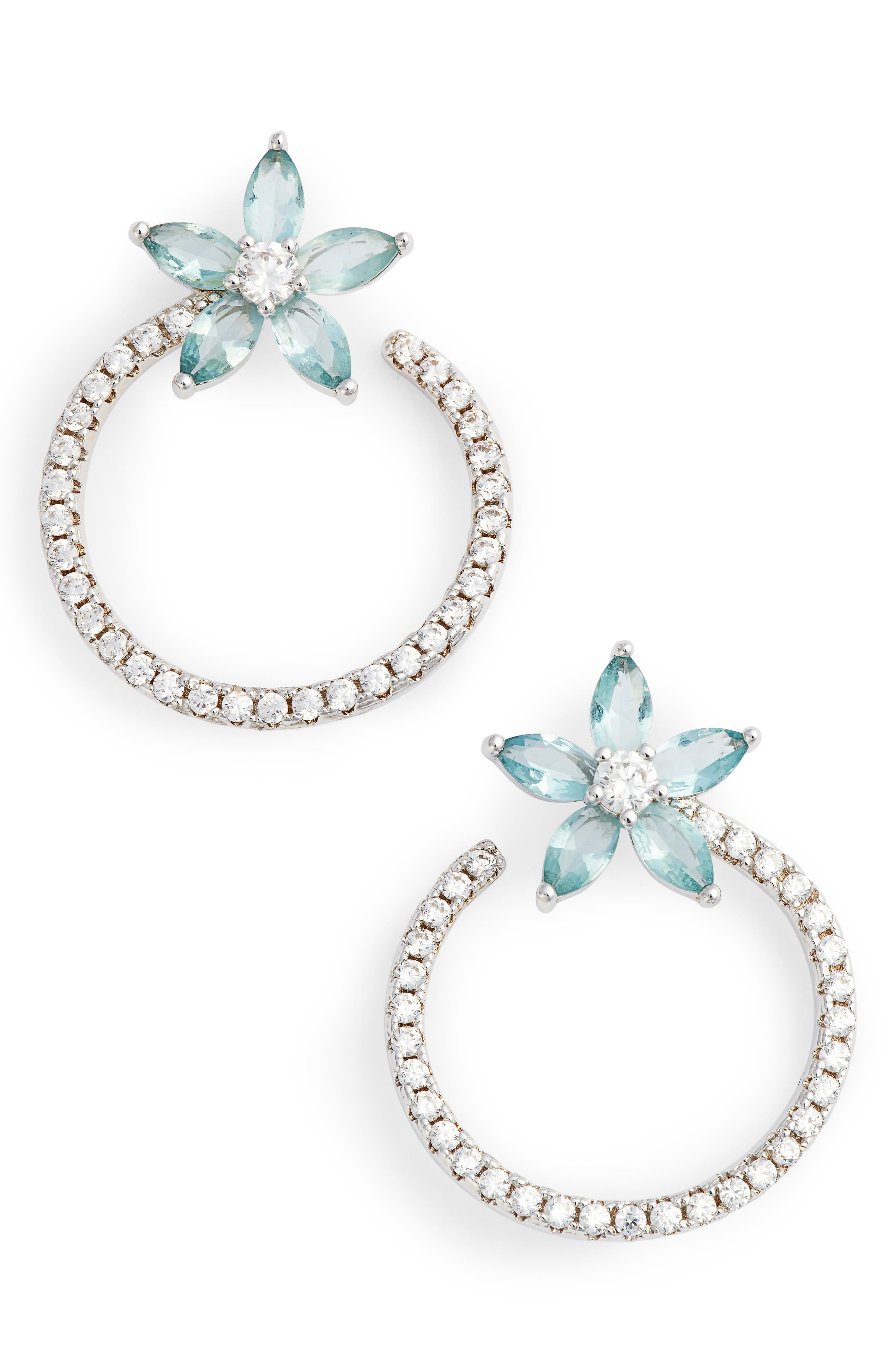Front to Back Floral Hoop Earrings,                         Main,                         color, SILVER/ LIGHT BLUE/ WHITE CZ