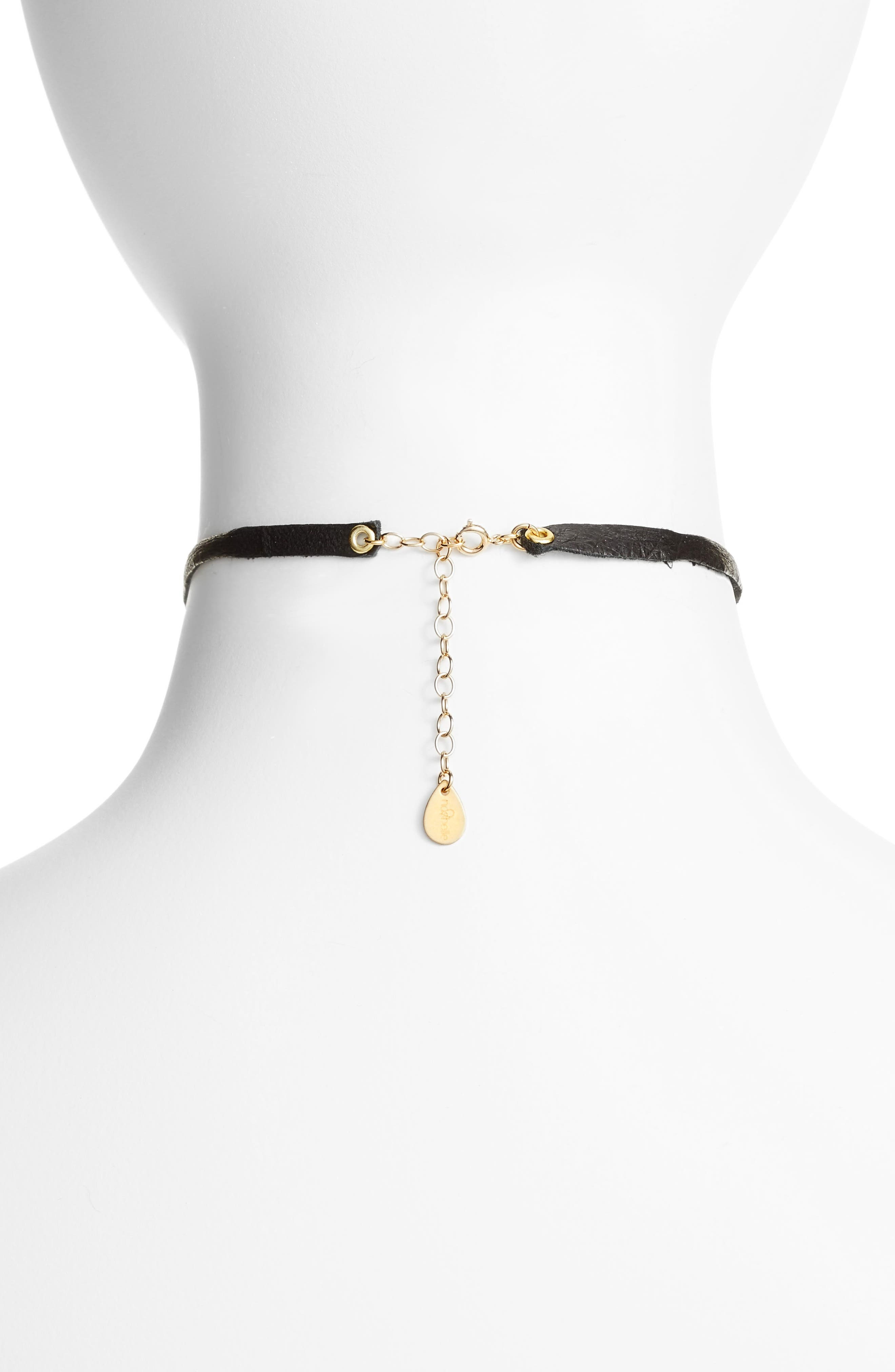 Leather & Chain Choker,                             Alternate thumbnail 3, color,                             001