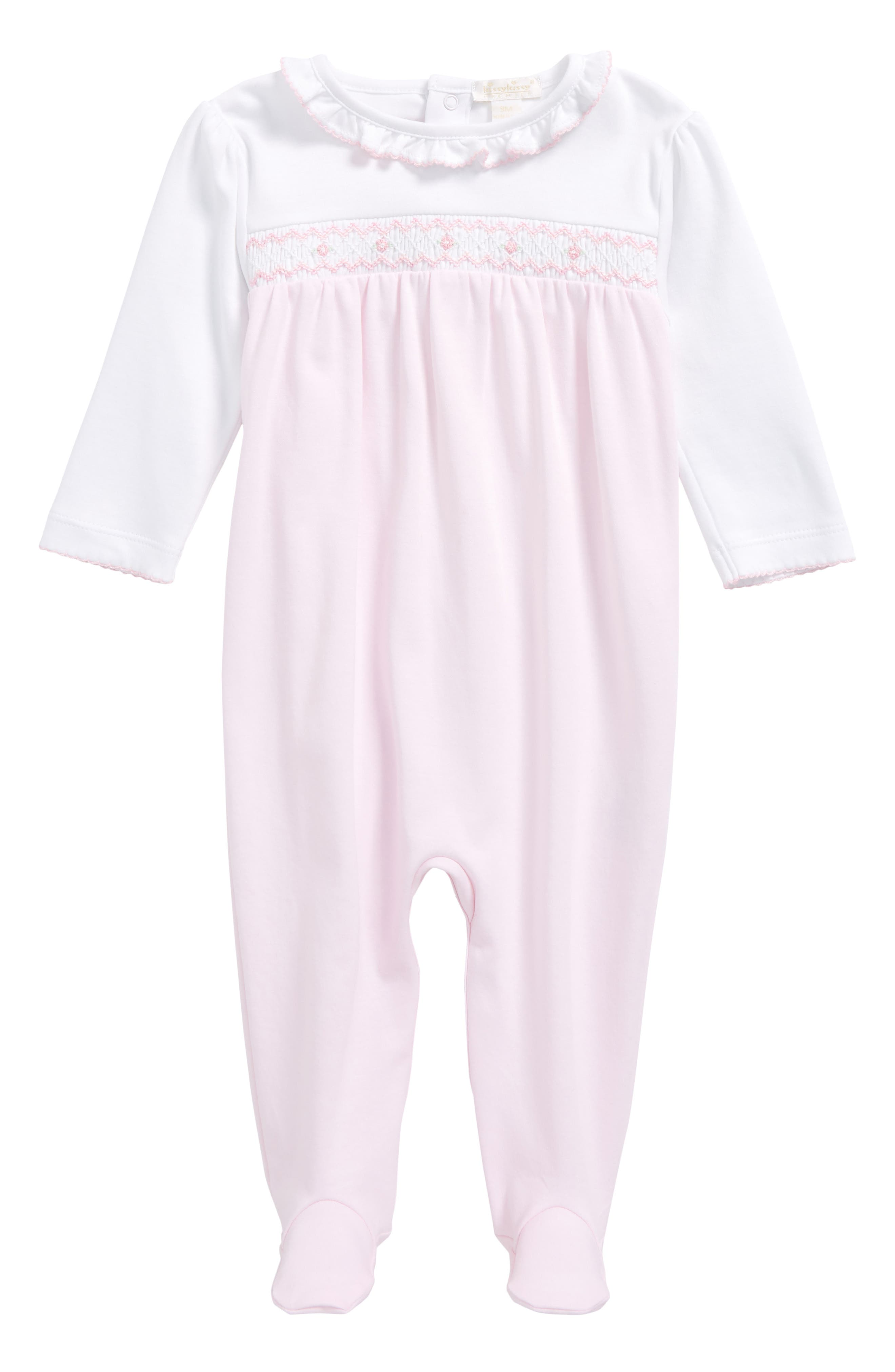 Smocked Pima Cotton Footie,                             Main thumbnail 1, color,                             650