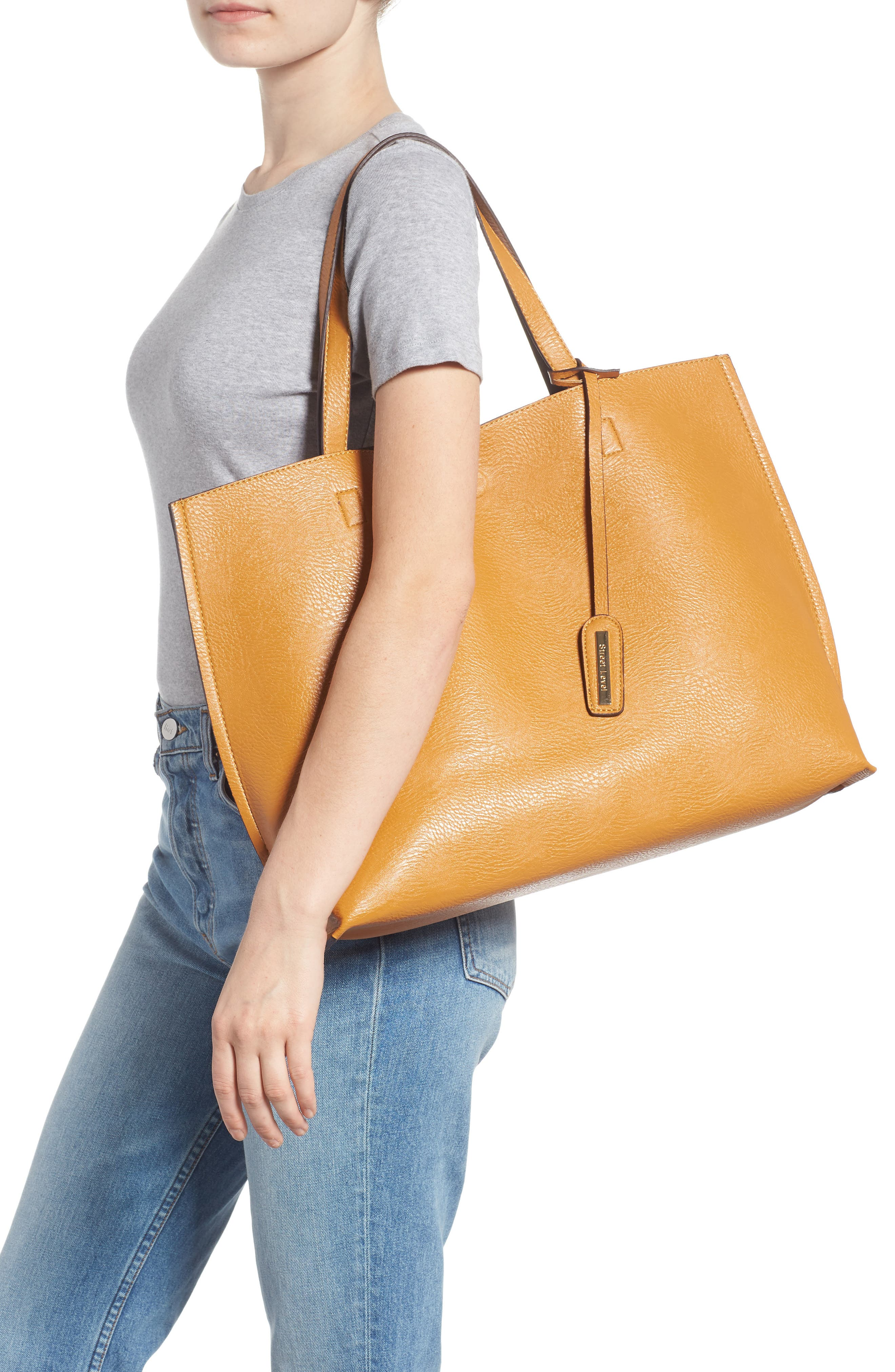 Reversible Faux Leather Tote & Wristlet,                             Alternate thumbnail 2, color,                             MUSTARD