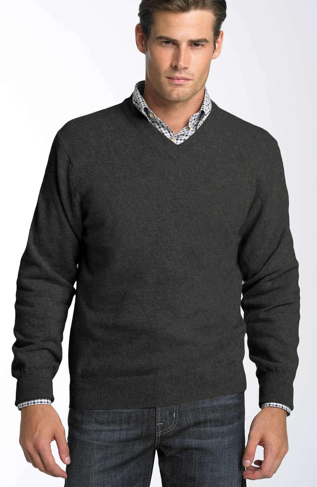 V-Neck Lambswool Blend Sweater,                             Main thumbnail 1, color,                             071