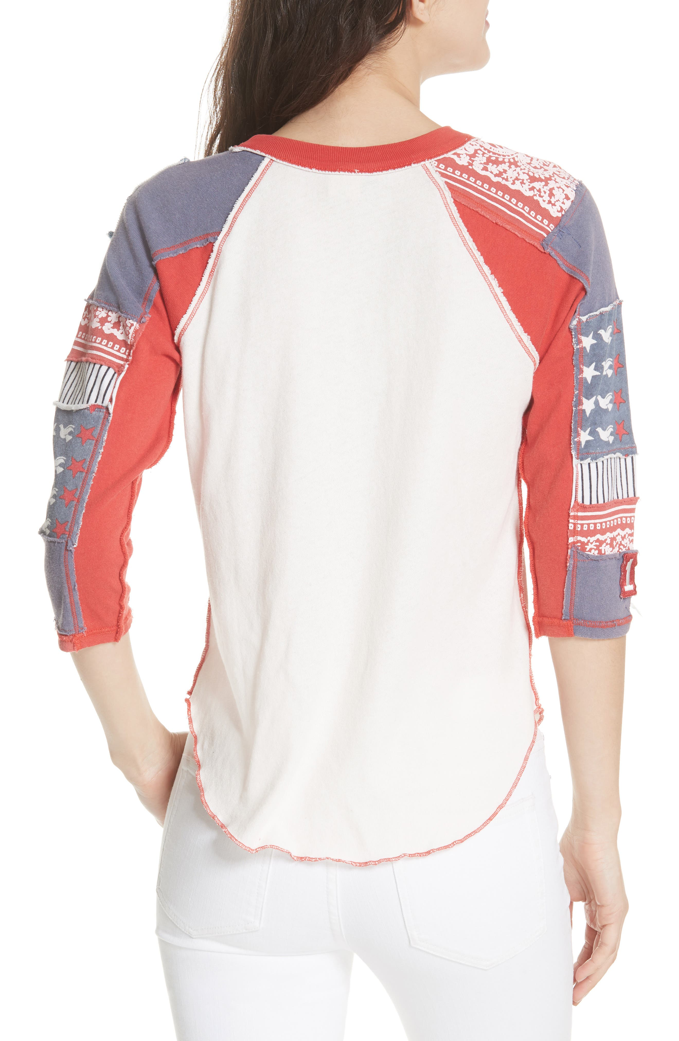 We the Free by Free People Bright Star Raglan Sleeve Tee,                             Alternate thumbnail 2, color,                             100