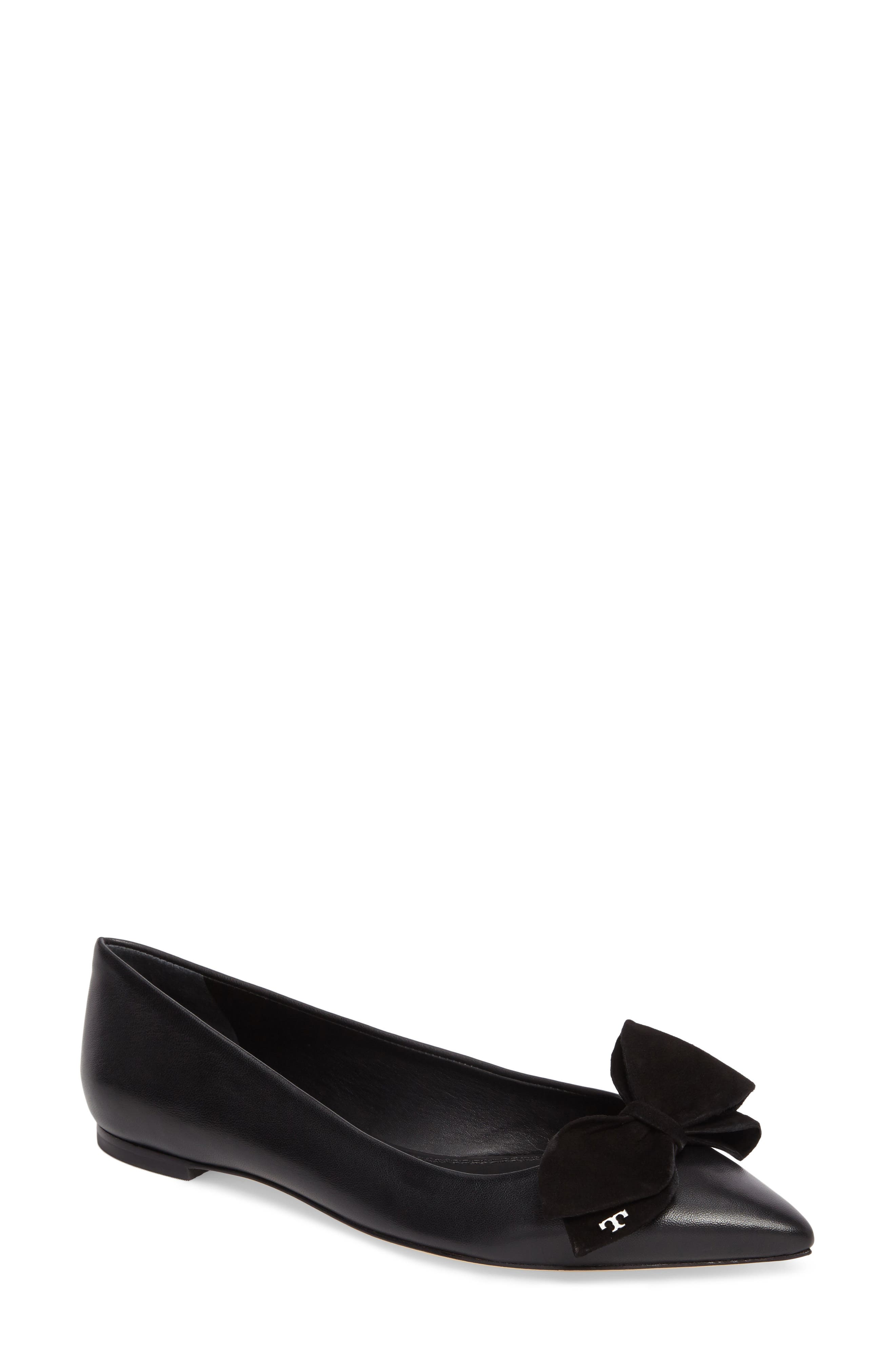 Rosalind Bow Pointy Toe Flat,                             Main thumbnail 1, color,                             BLACK LEATHER