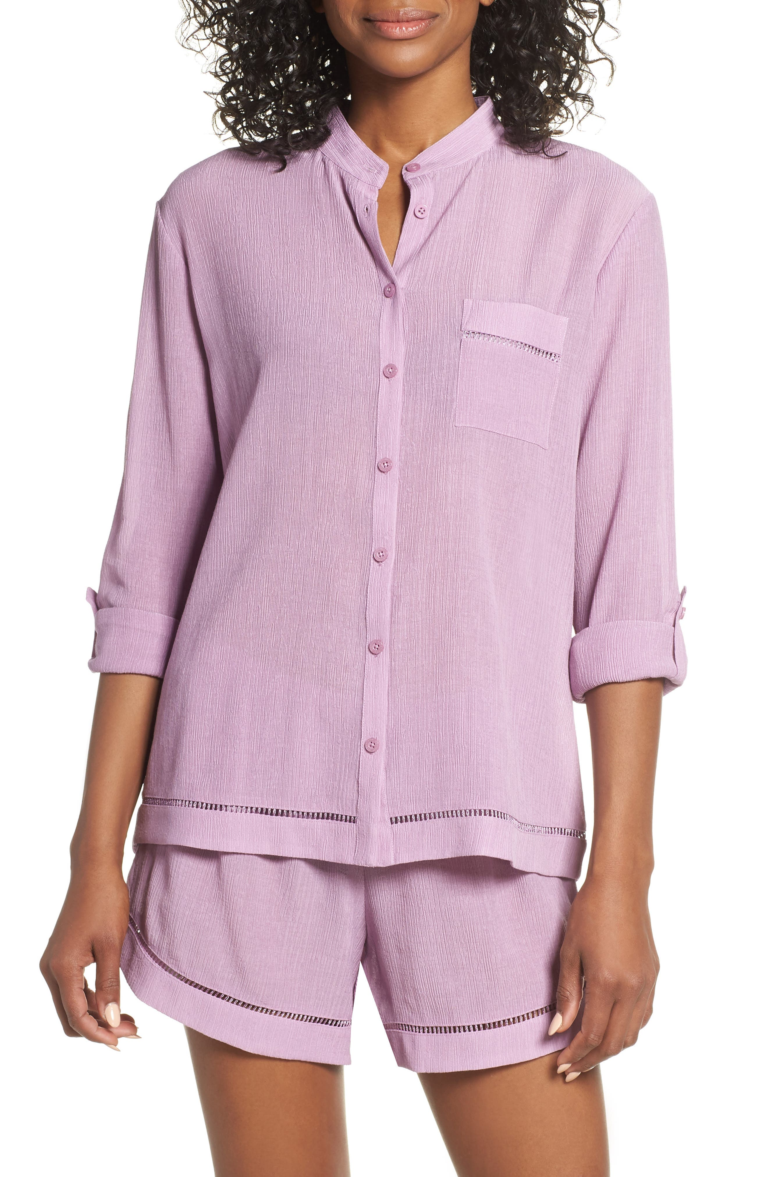 Nordstrom Lingerie Crinkle Short Pajamas, Purple