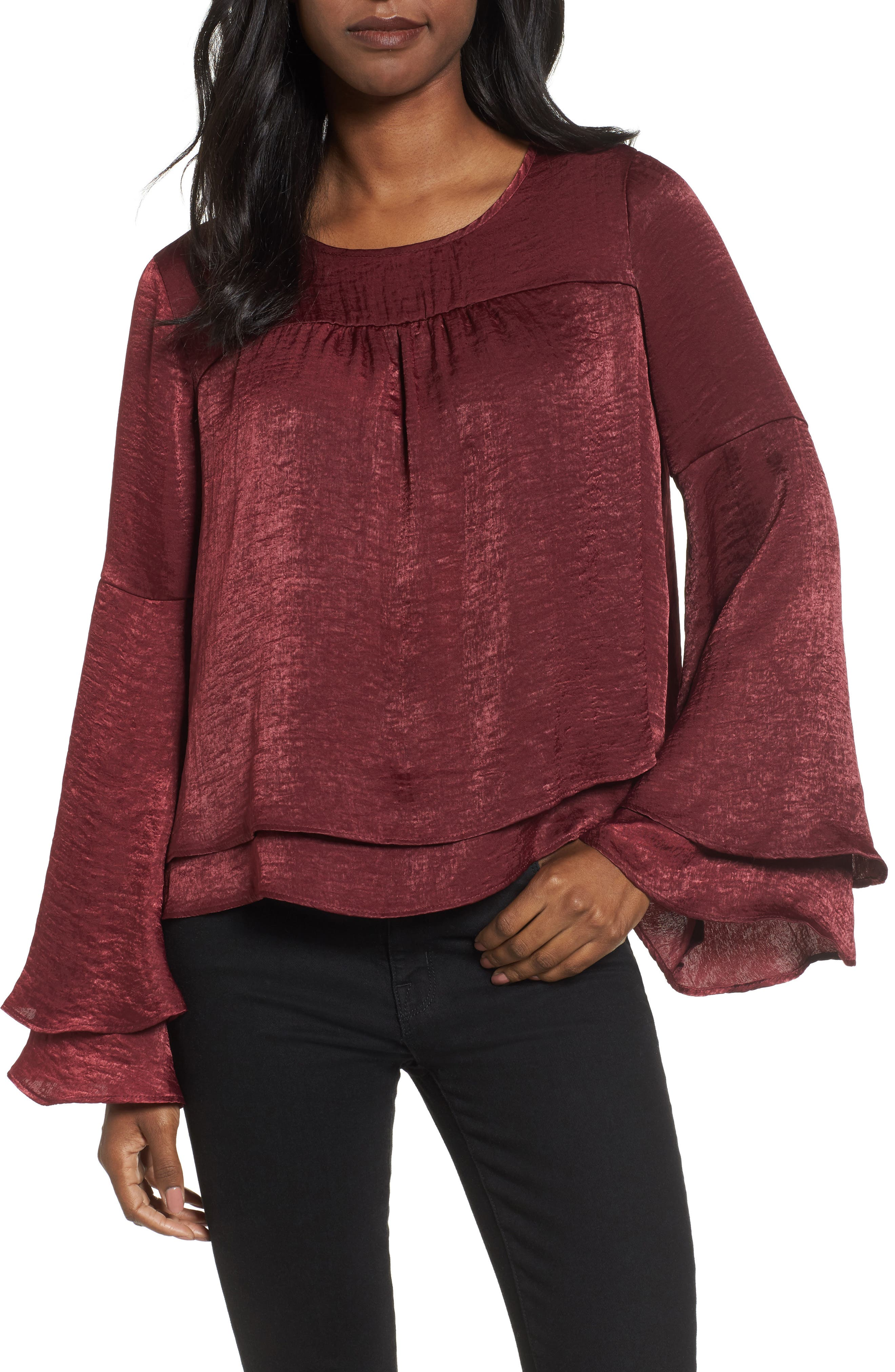Bell Sleeve Hammered Satin Blouse,                             Main thumbnail 4, color,