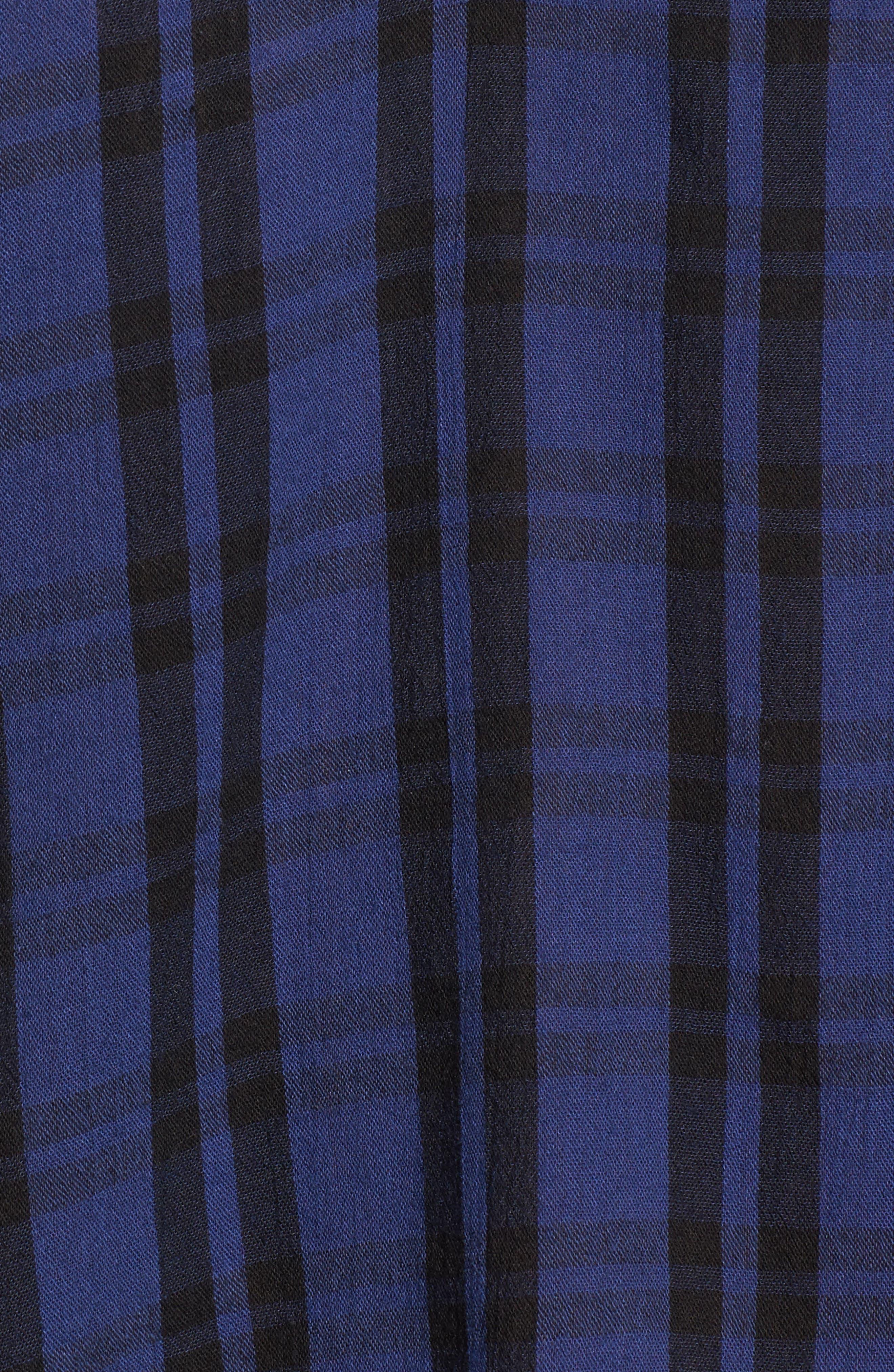 Plaid Shirred Neck Shirt,                             Alternate thumbnail 5, color,