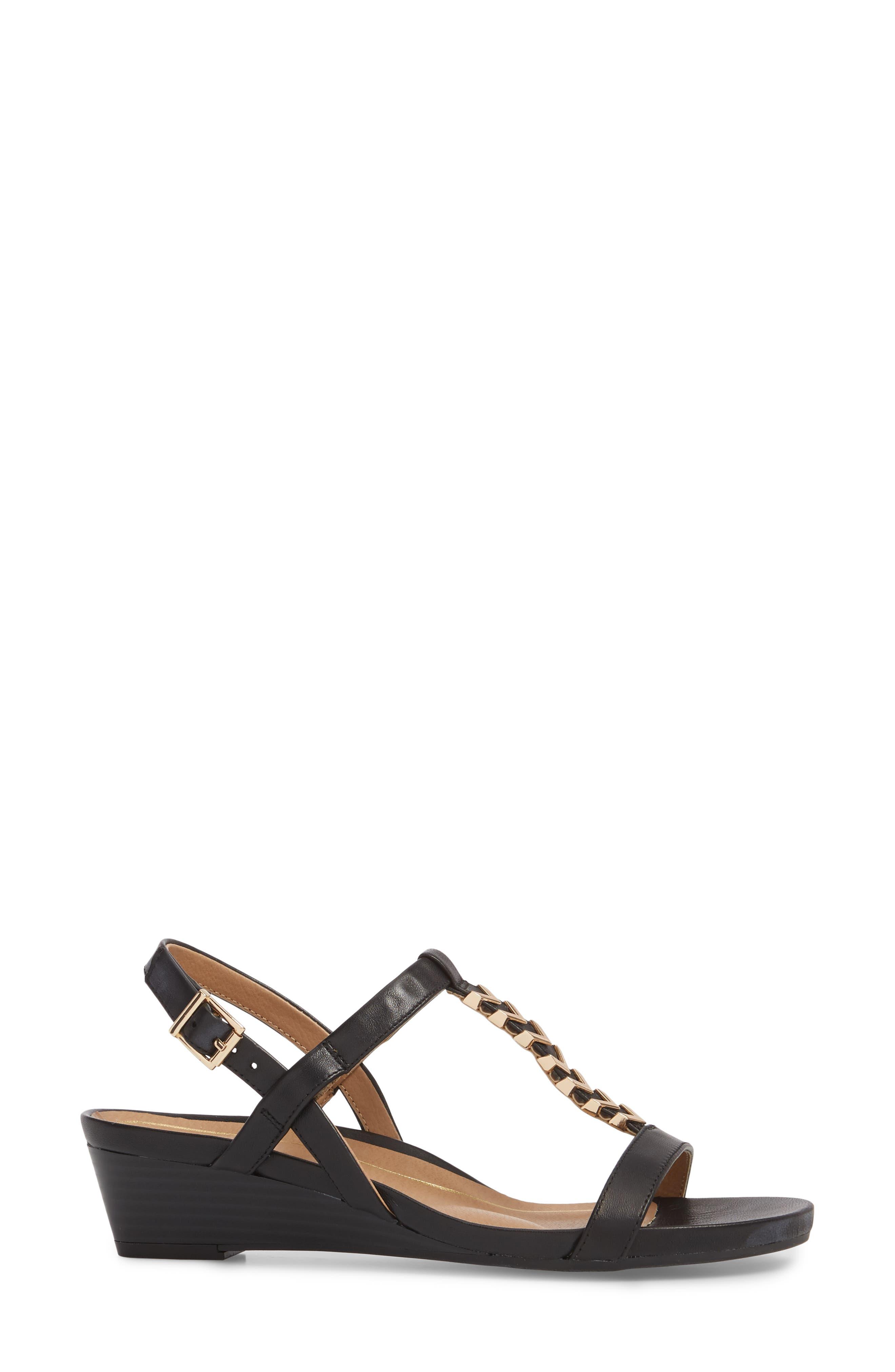 VIONIC,                             Cali T-Strap Wedge Sandal,                             Alternate thumbnail 3, color,                             001