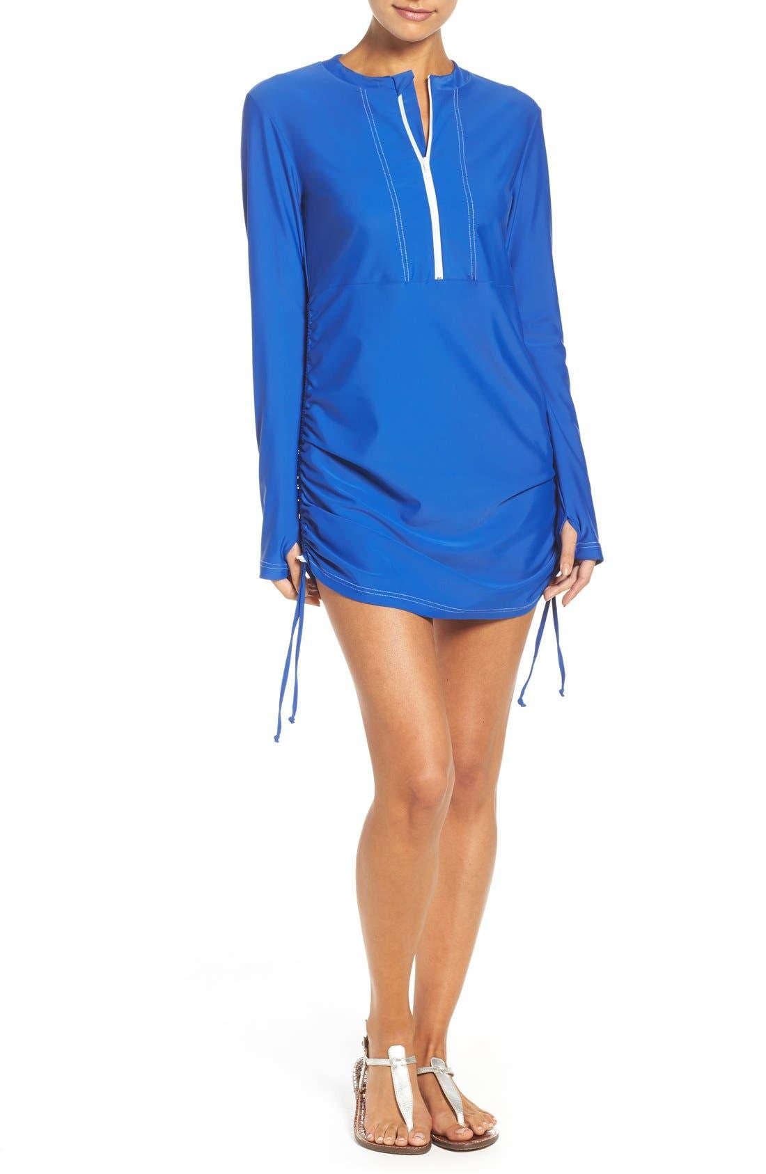 'Sonja' Long Sleeve Half Zip Convertible Swimdress,                             Main thumbnail 6, color,