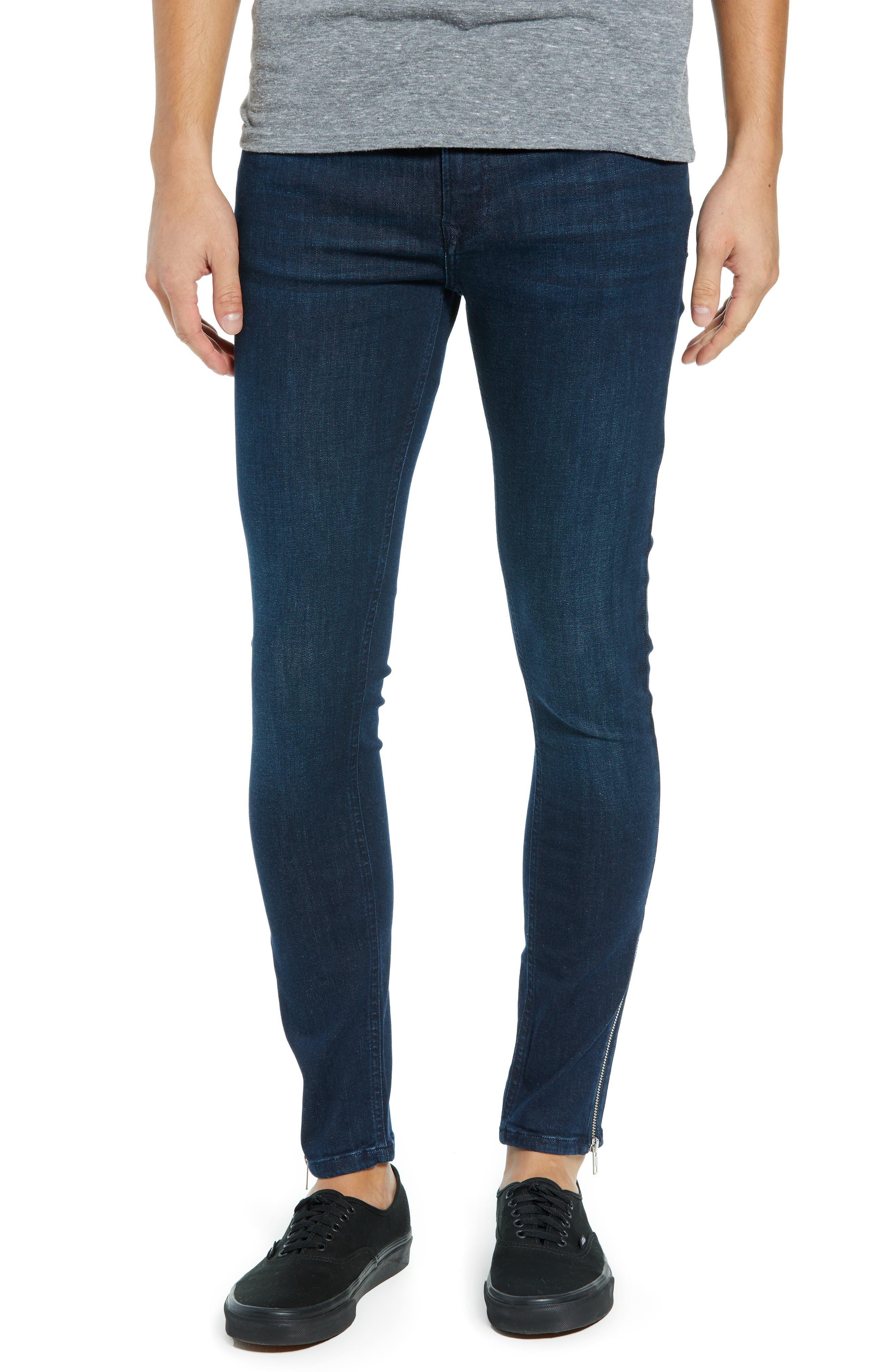 Zip Hem Spray-On Skinny Jeans,                             Main thumbnail 1, color,                             BLUE
