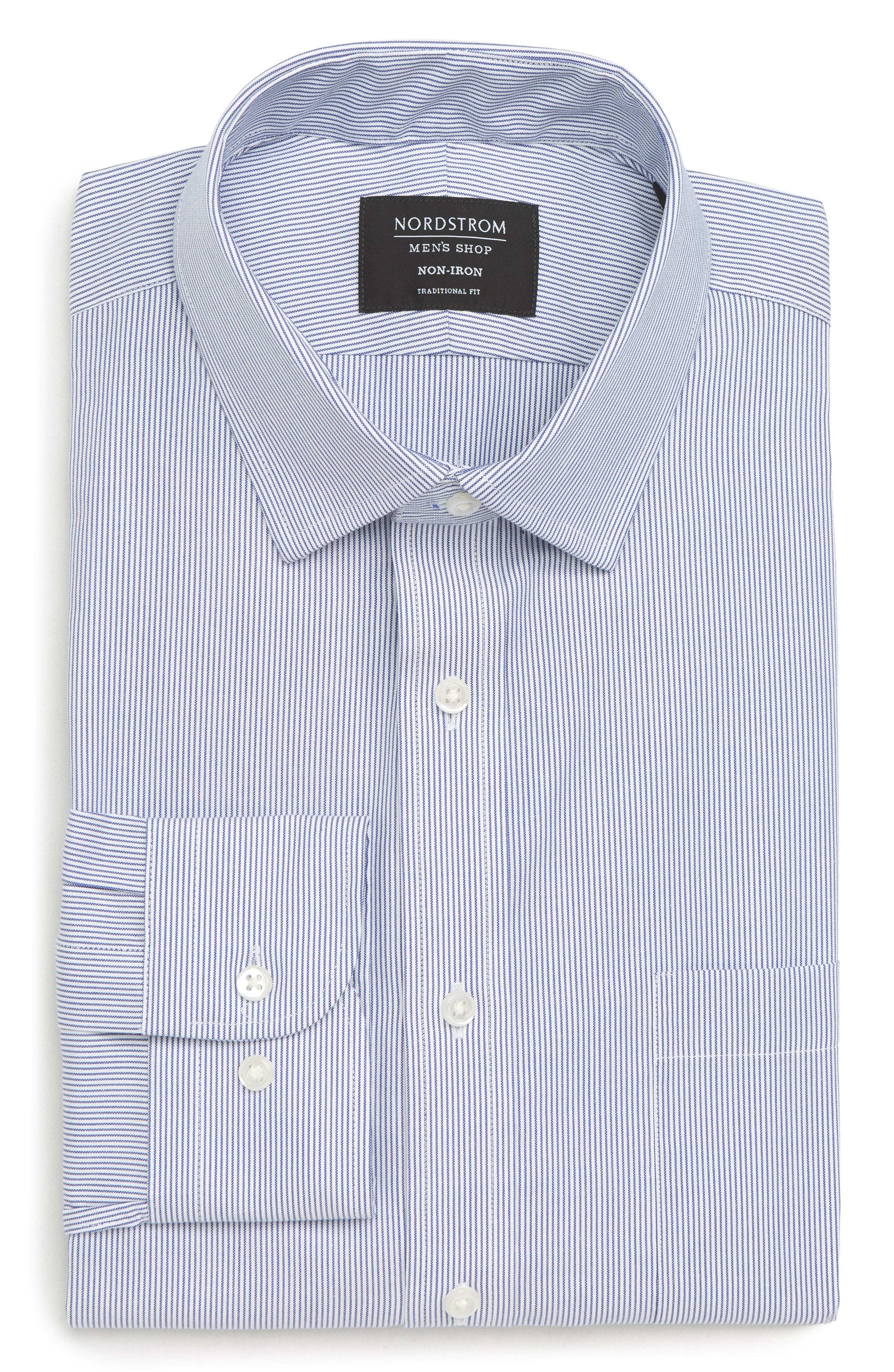 Traditional Fit Non-Iron Stripe Dress Shirt,                             Alternate thumbnail 5, color,                             NAVY PATRIOT
