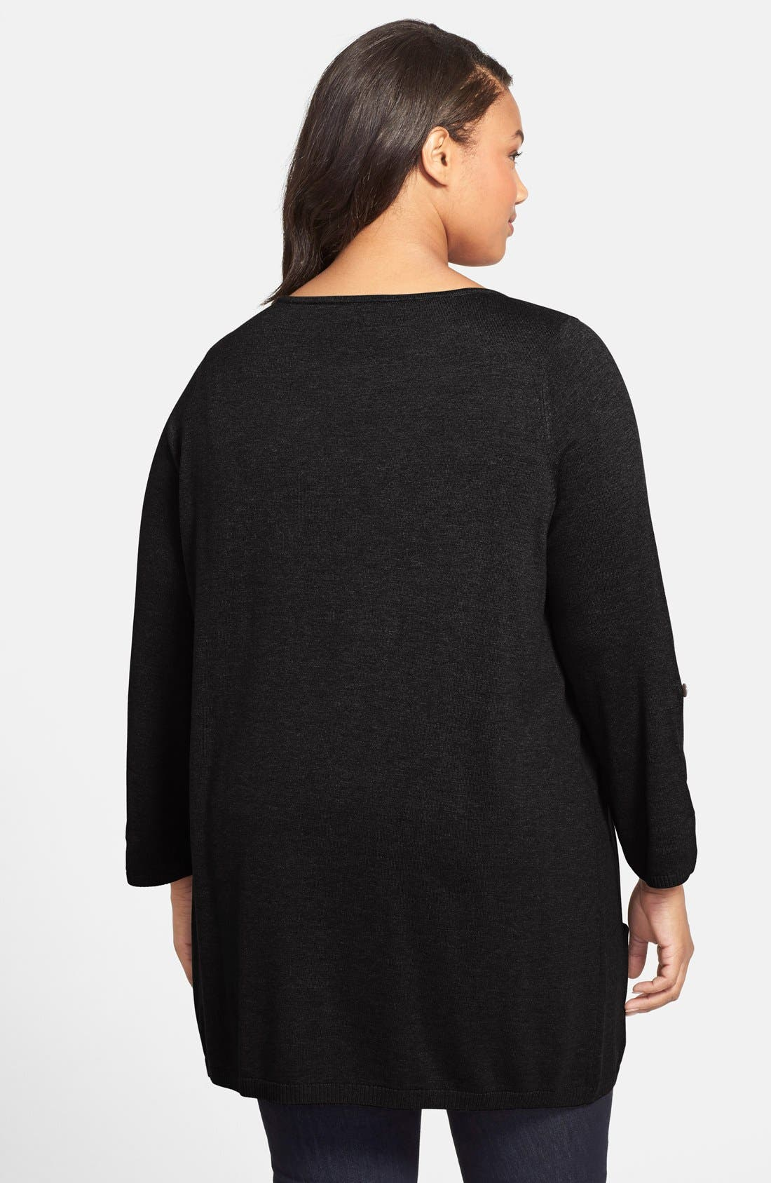 CASLON<SUP>®</SUP>,                             Roll Sleeve Tunic Sweater,                             Alternate thumbnail 7, color,                             BLACK