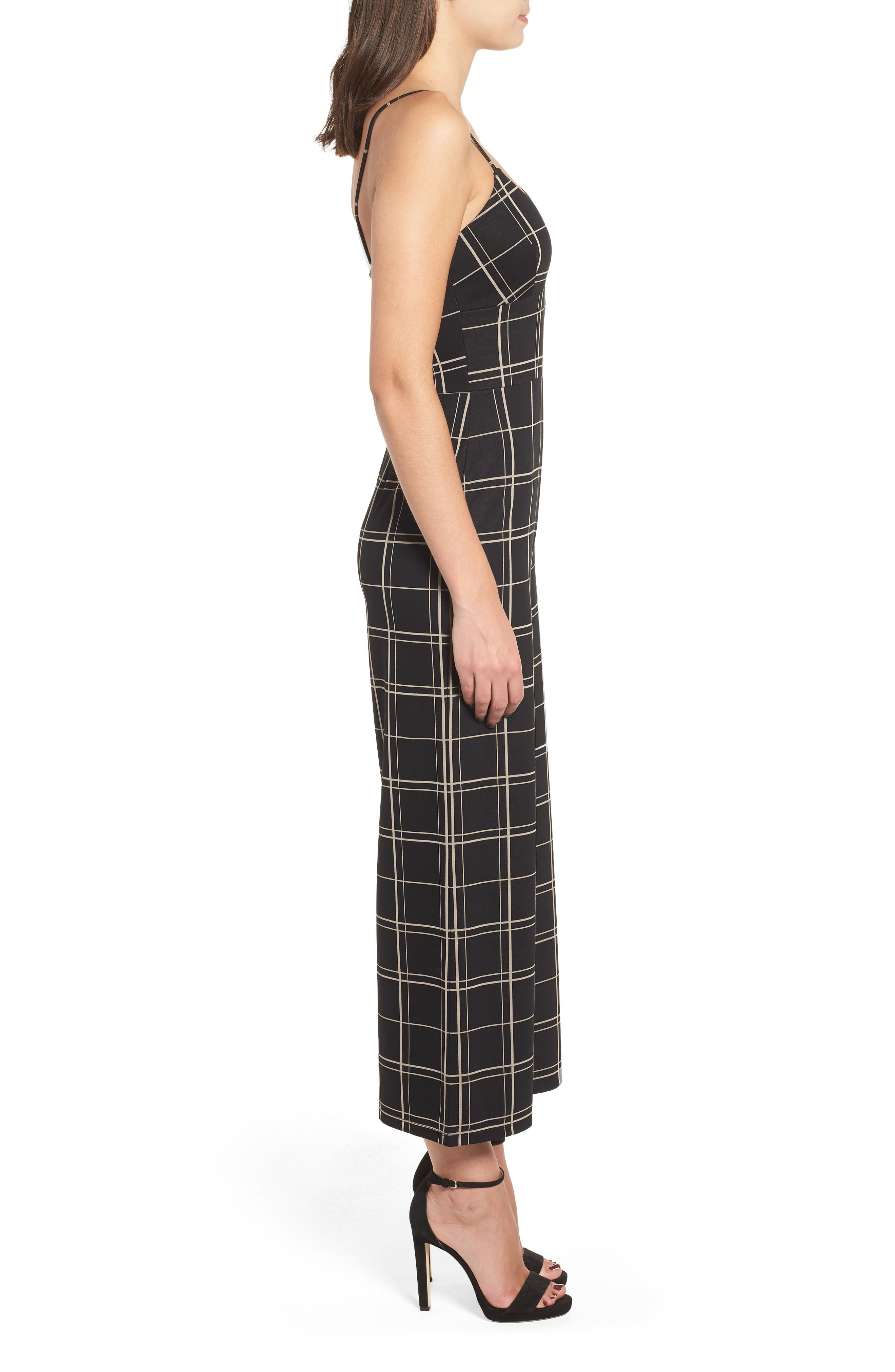 Windowpane Check Jumpsuit,                             Alternate thumbnail 3, color,                             BLACK GLAM CITY WINDOWS