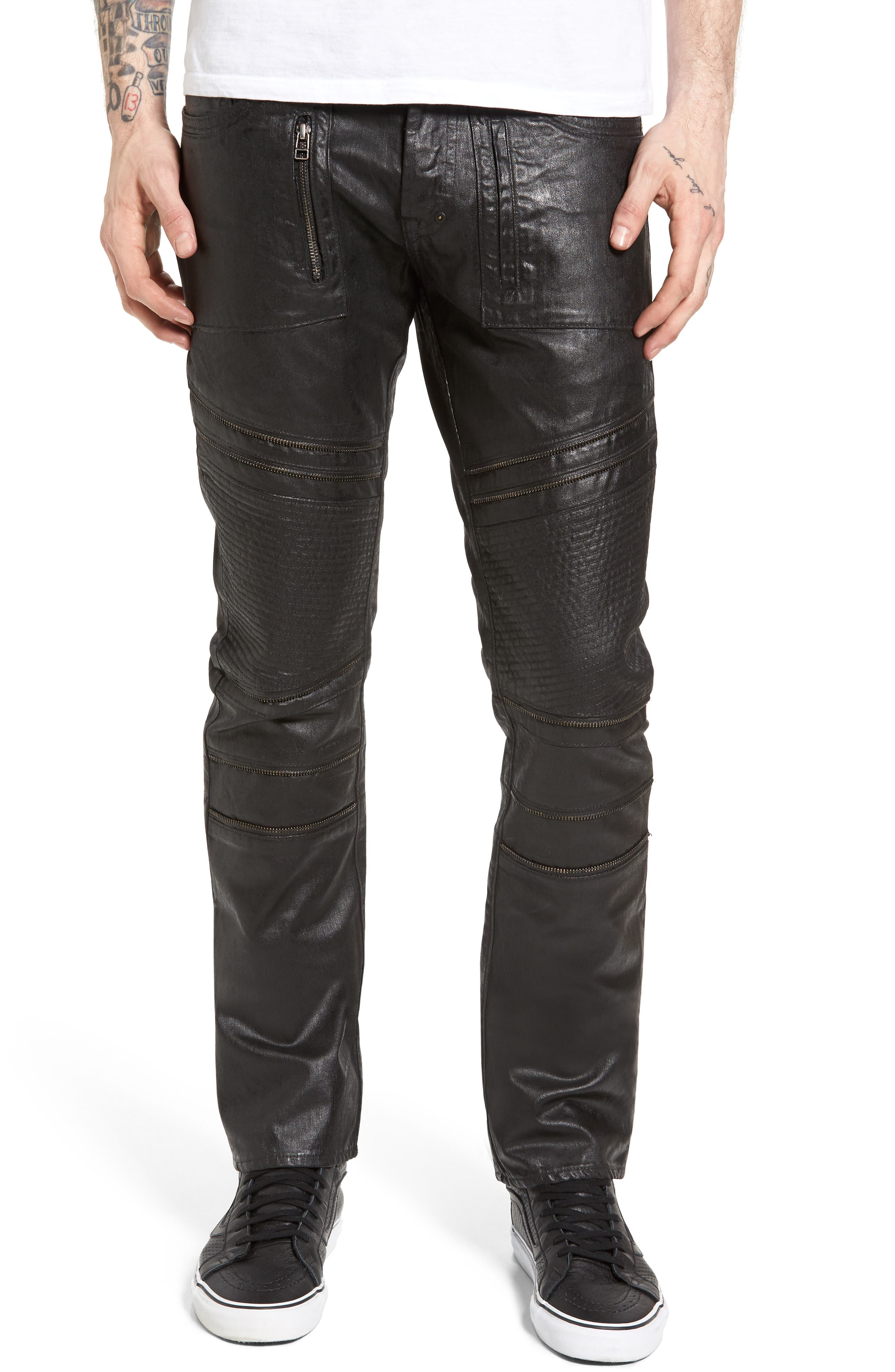 Demon Slim Straight Coated Jeans,                         Main,                         color, 001