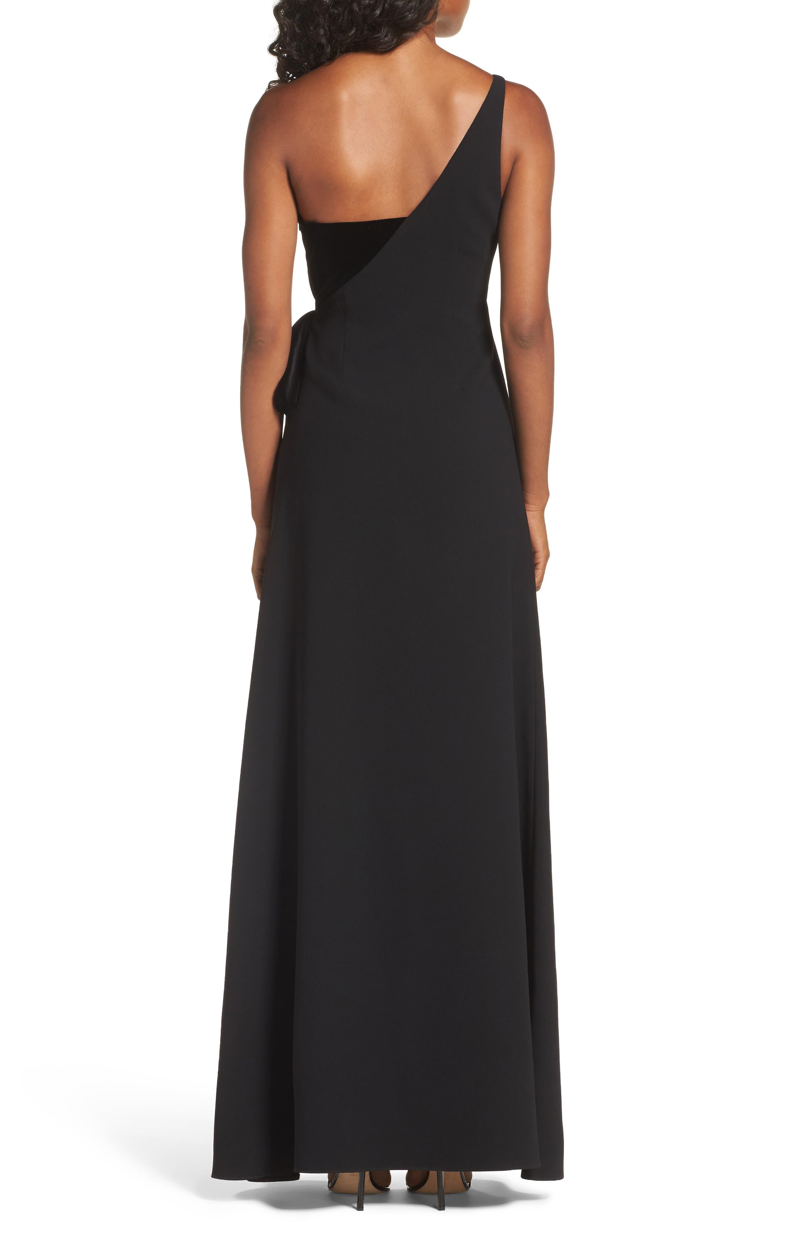 One-Shoulder Velvet Panel Gown,                             Alternate thumbnail 2, color,                             001