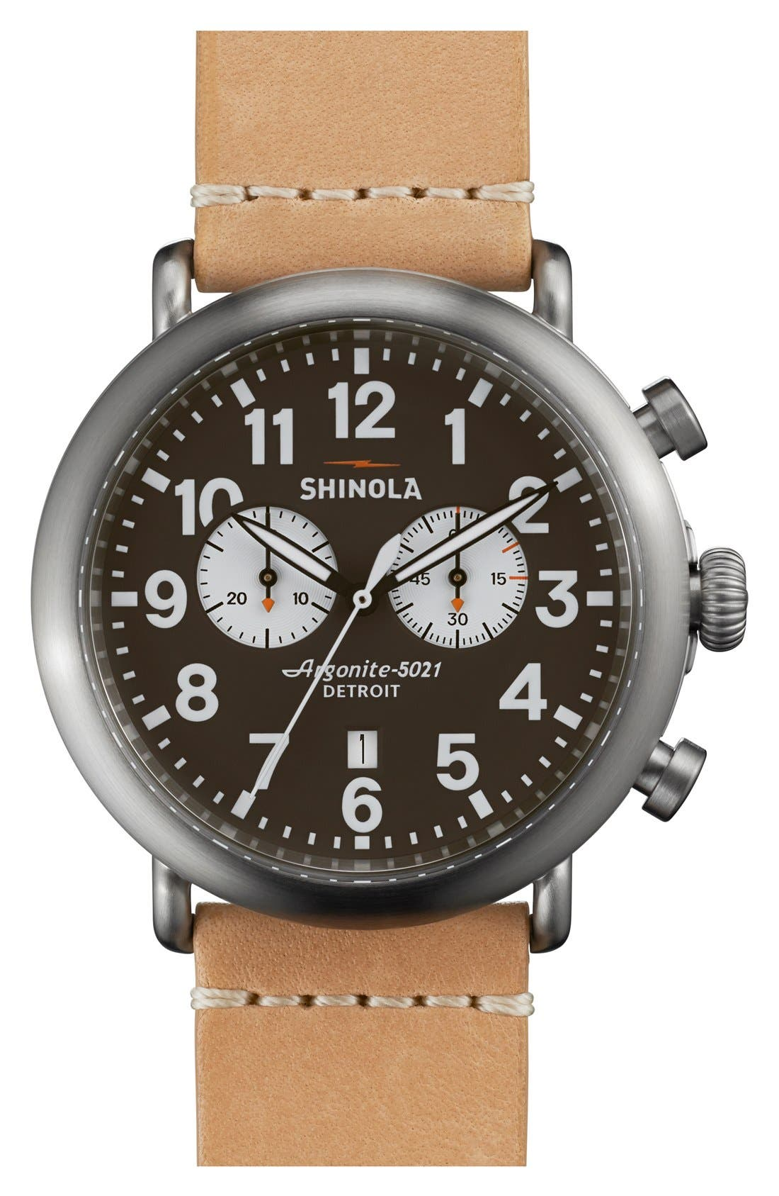 The Runwell Chrono Leather Strap Watch, 47mm,                             Main thumbnail 13, color,
