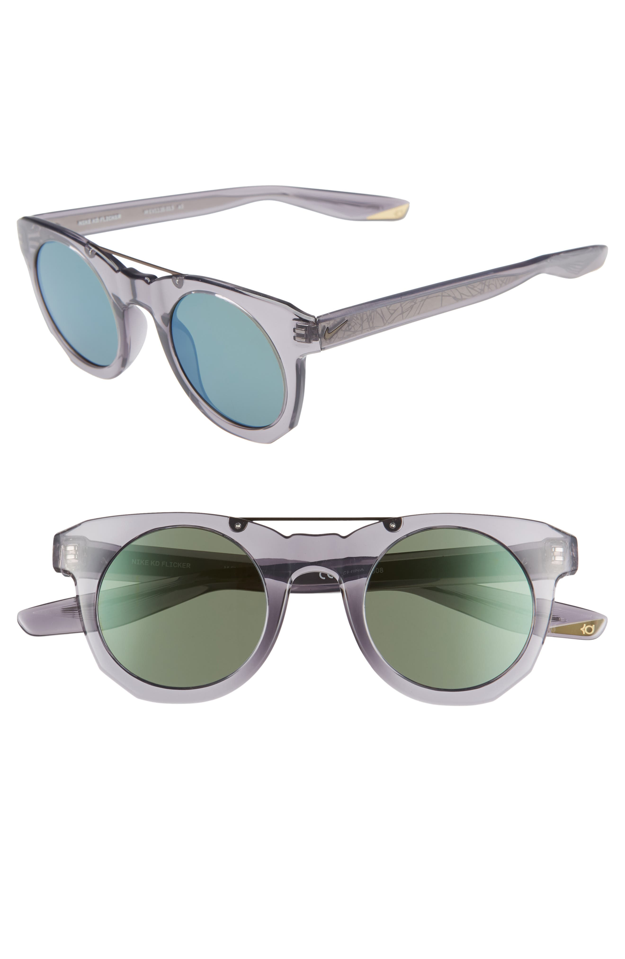 Nike Kd Flicker 4m Round Sunglasses - Gunsmoke/ Green