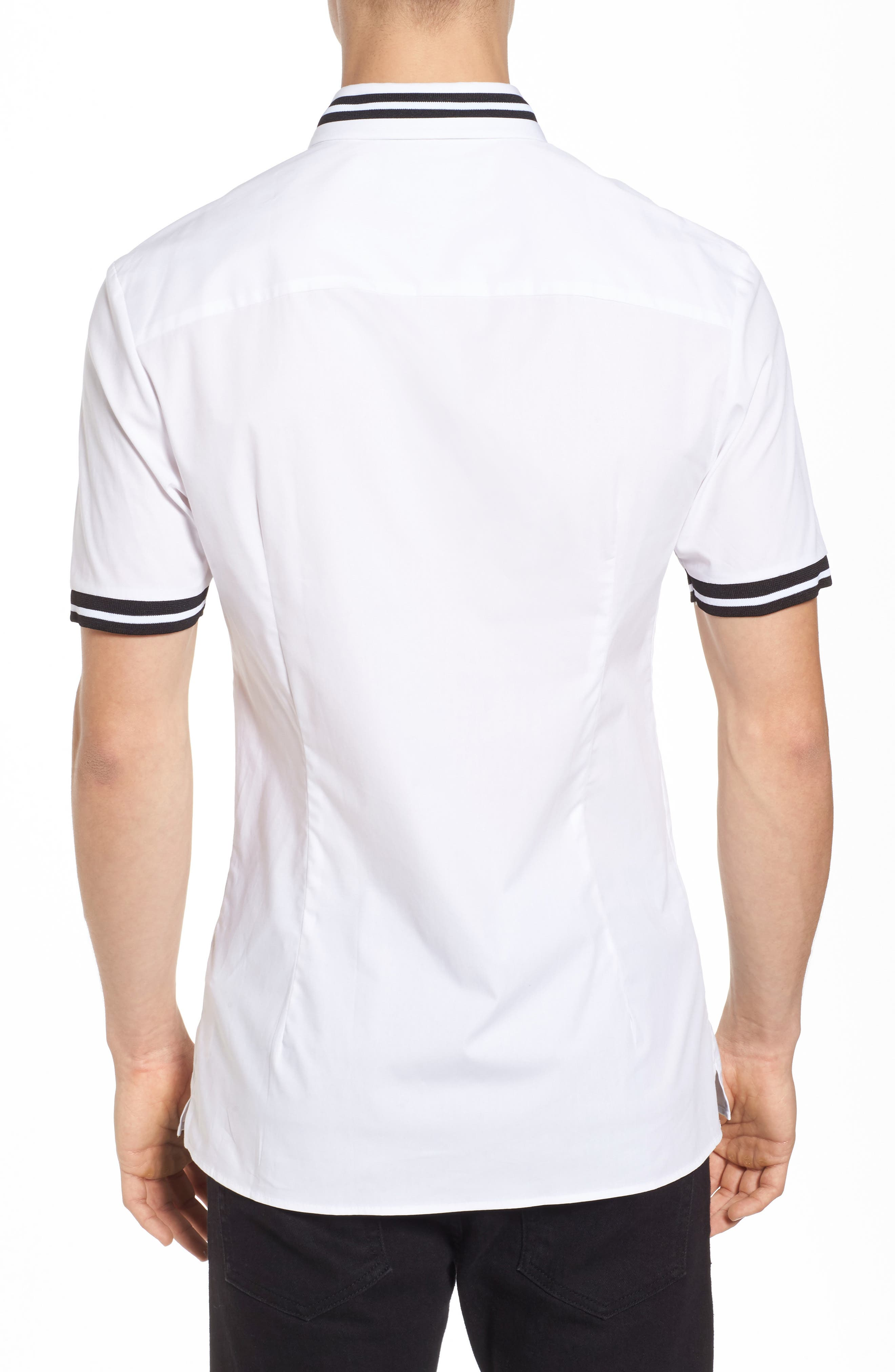 Muscle Fit Stripe Tipped Shirt,                             Alternate thumbnail 3, color,