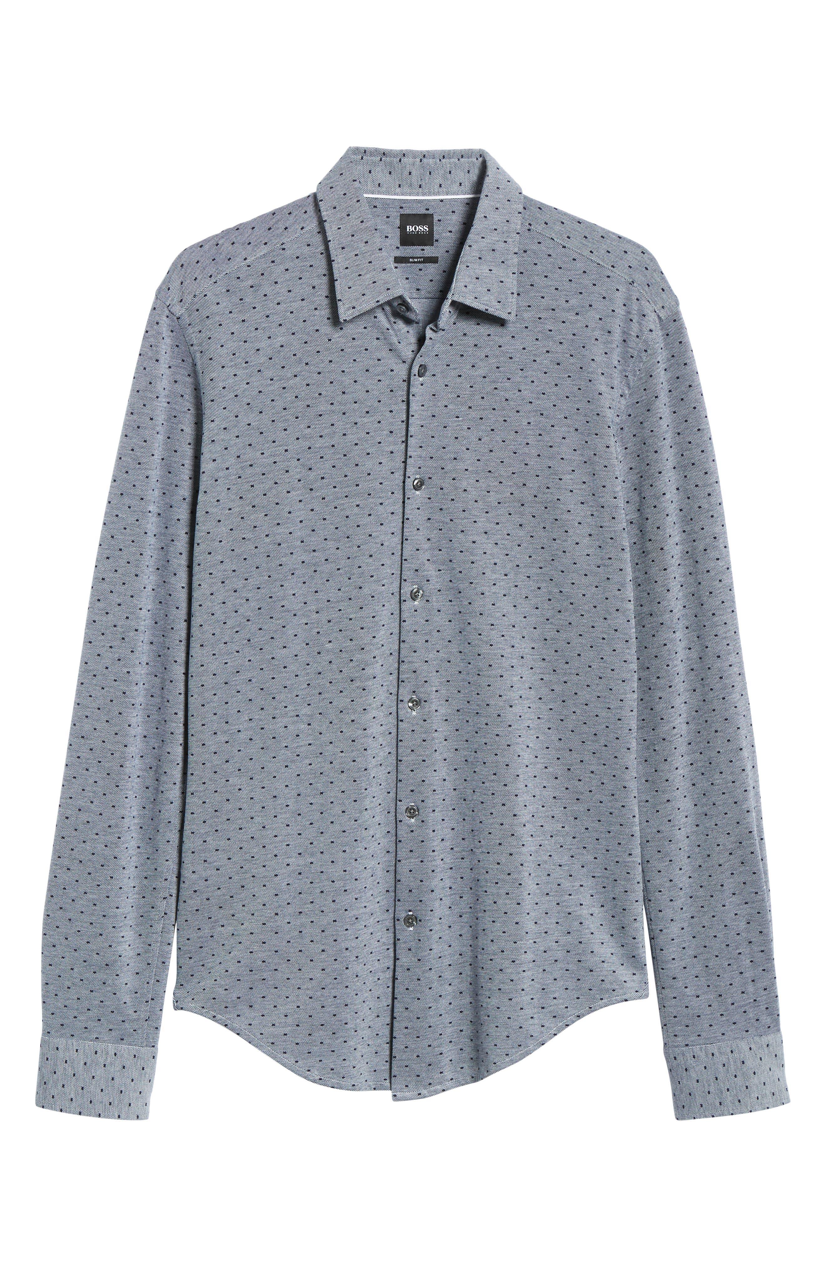 Ronni Slim Fit Dot Sport Shirt,                             Alternate thumbnail 5, color,                             BLUE