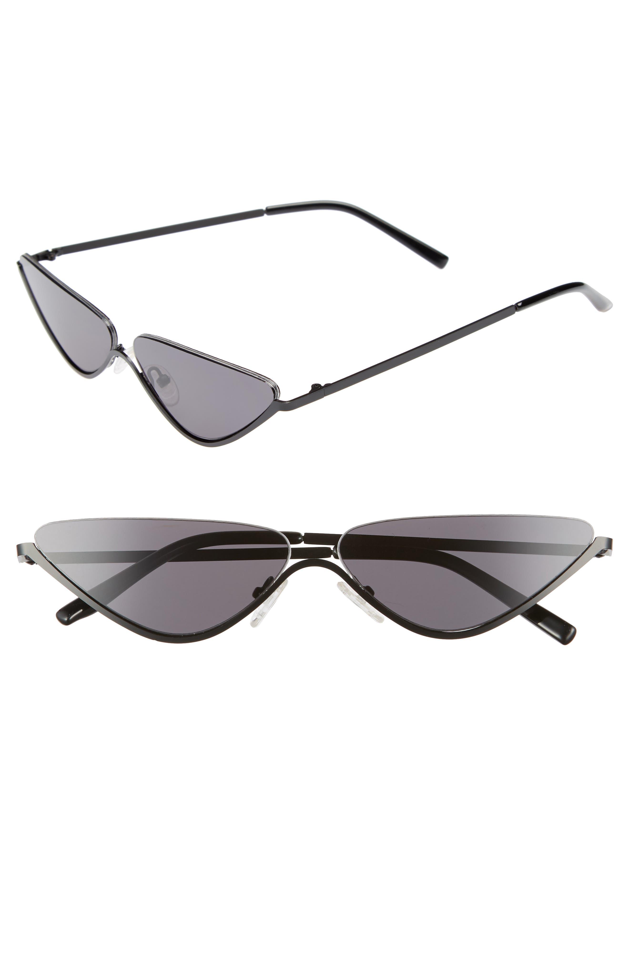 62mm Half Rim Cat Eye Sunglasses,                         Main,                         color, 001