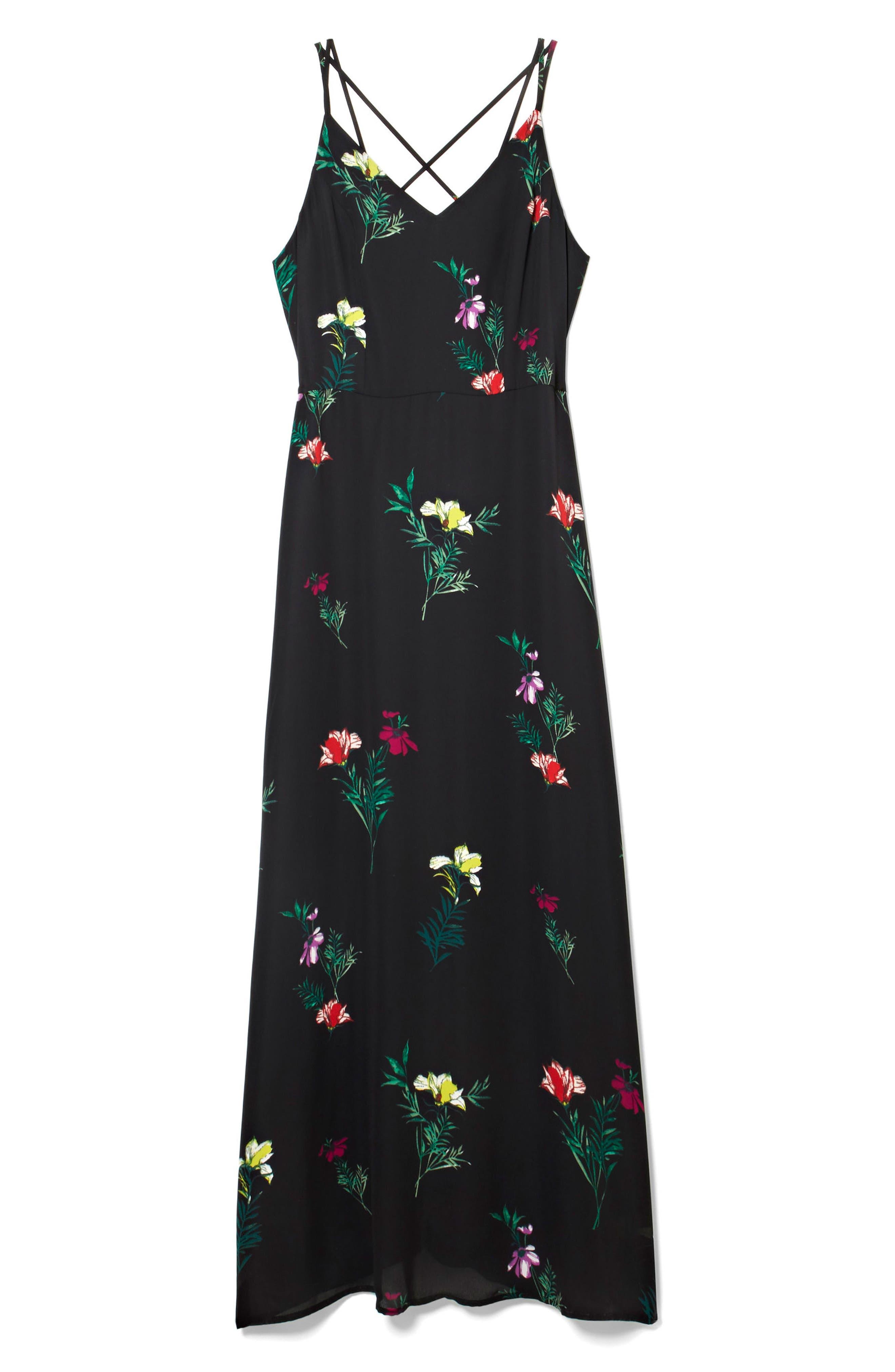 Tropical Garden Maxi Dress,                             Alternate thumbnail 3, color,                             001
