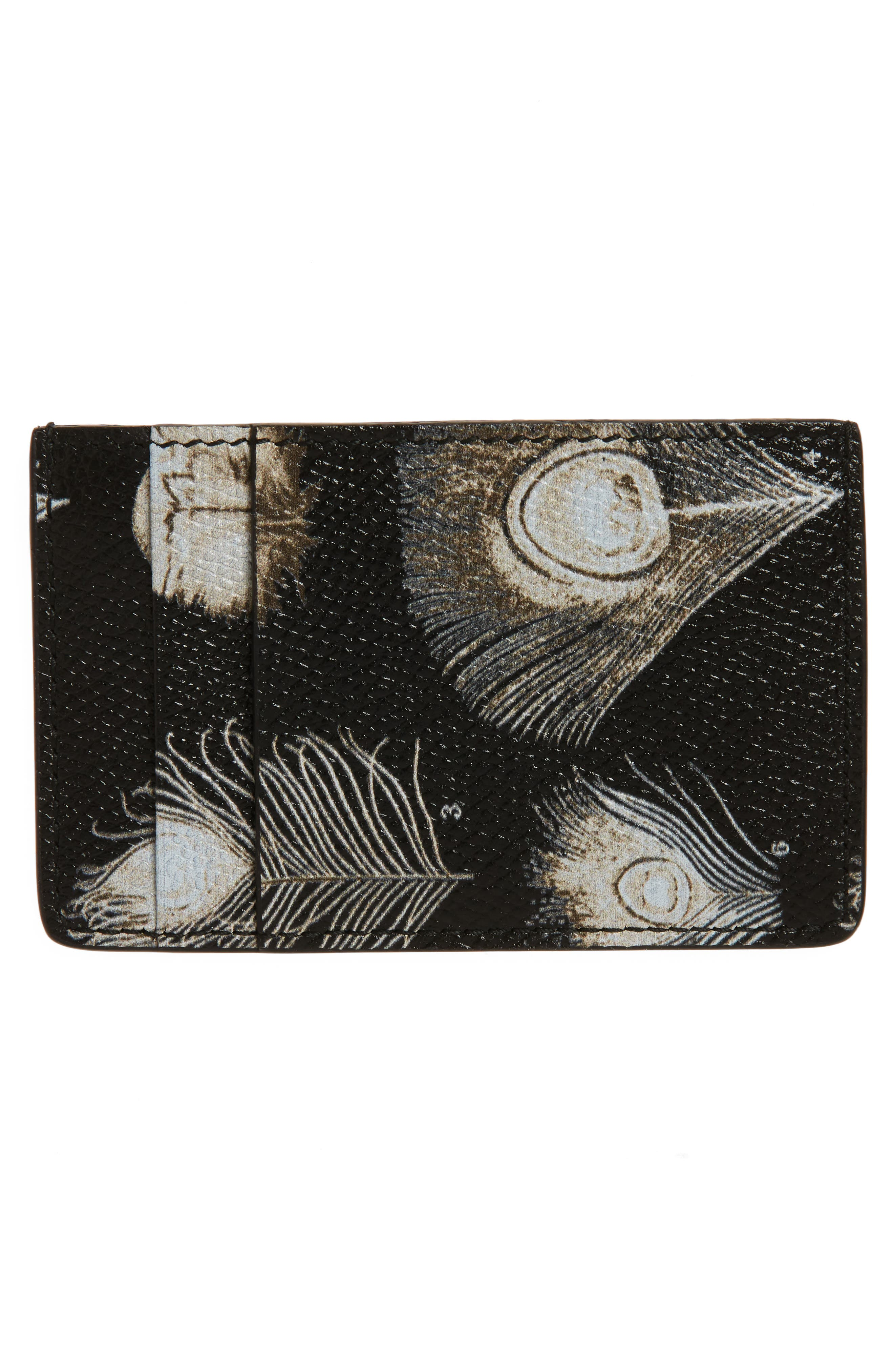 Peacock Feather Leather Card Case,                             Alternate thumbnail 2, color,                             011
