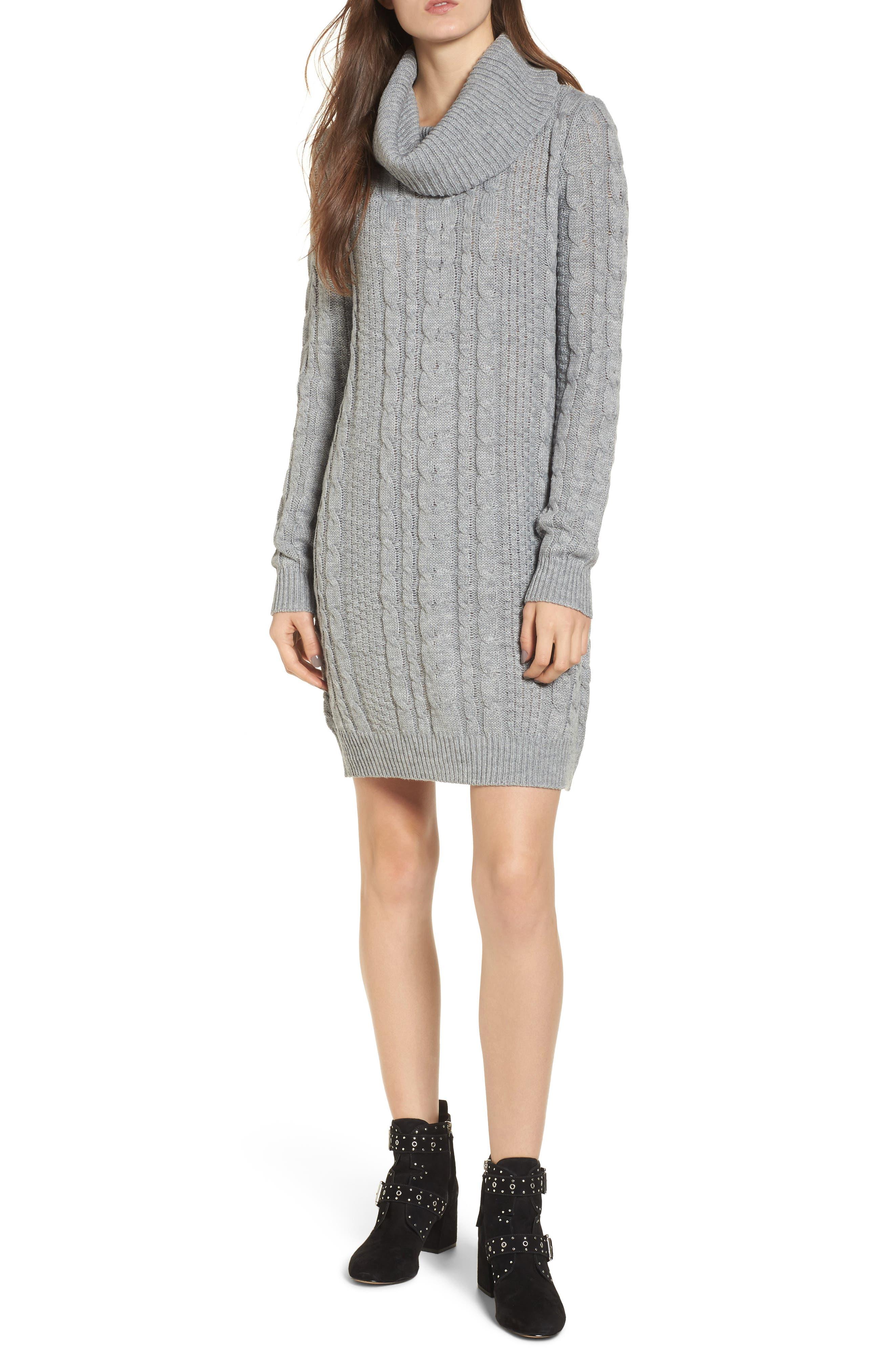 Cowl Neck Sweater Dress,                             Main thumbnail 1, color,                             020