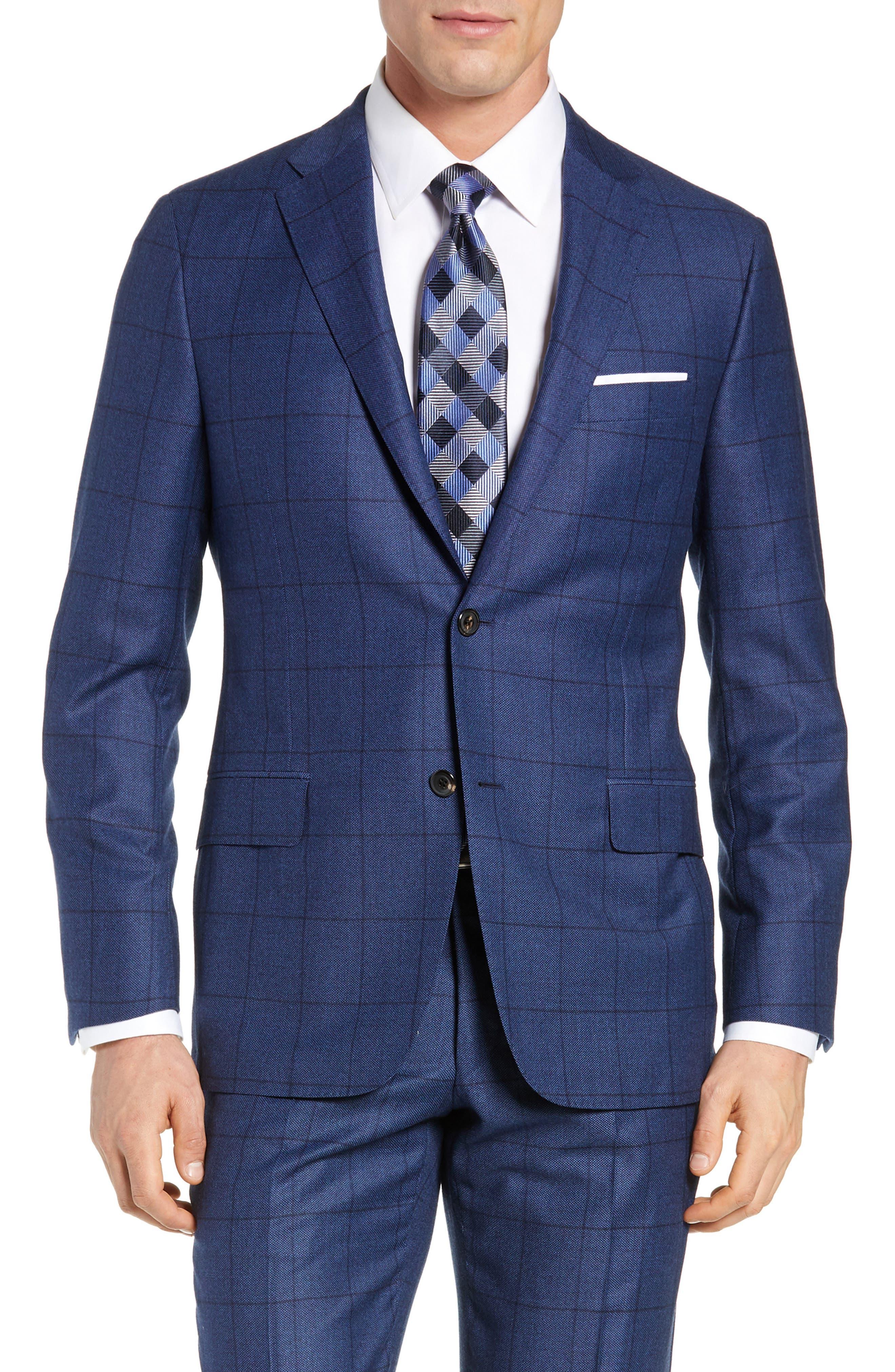 Classic Fit Windowpane Wool & Cashmere Suit,                             Alternate thumbnail 5, color,                             MEDIUM BLUE