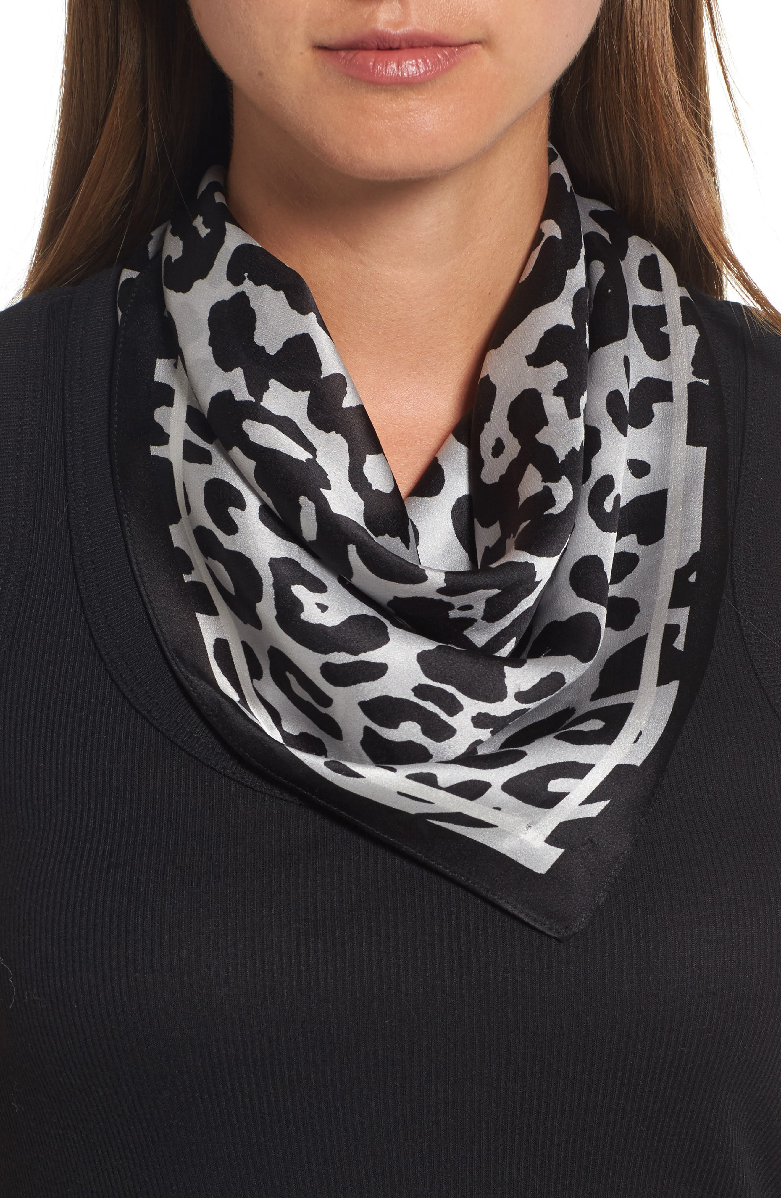 Runaway Kitty Silk Square Scarf,                         Main,                         color, 020