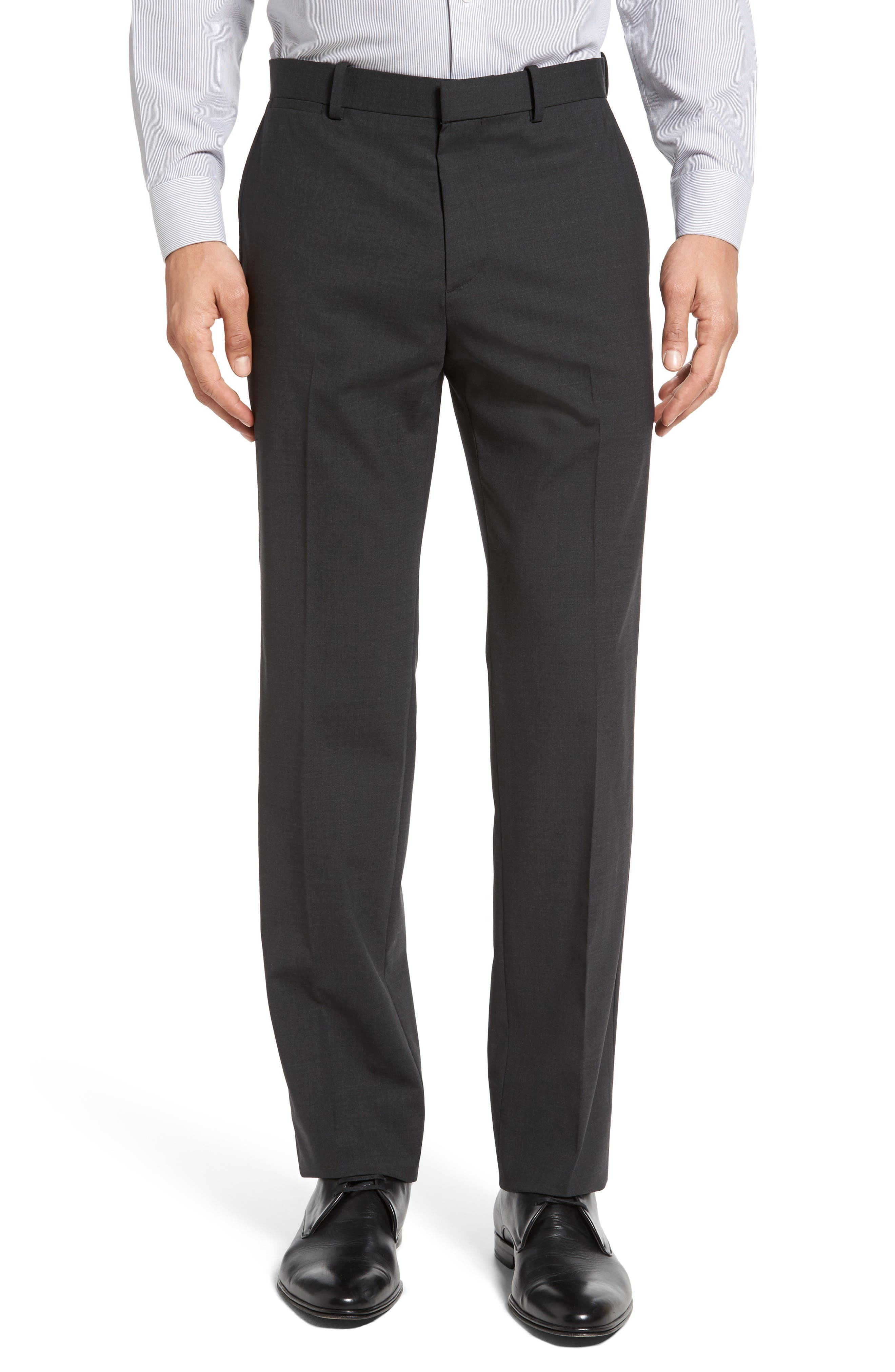Marlo New Tailor 2 Flat Front Solid Stretch Wool Trousers,                             Main thumbnail 1, color,                             029