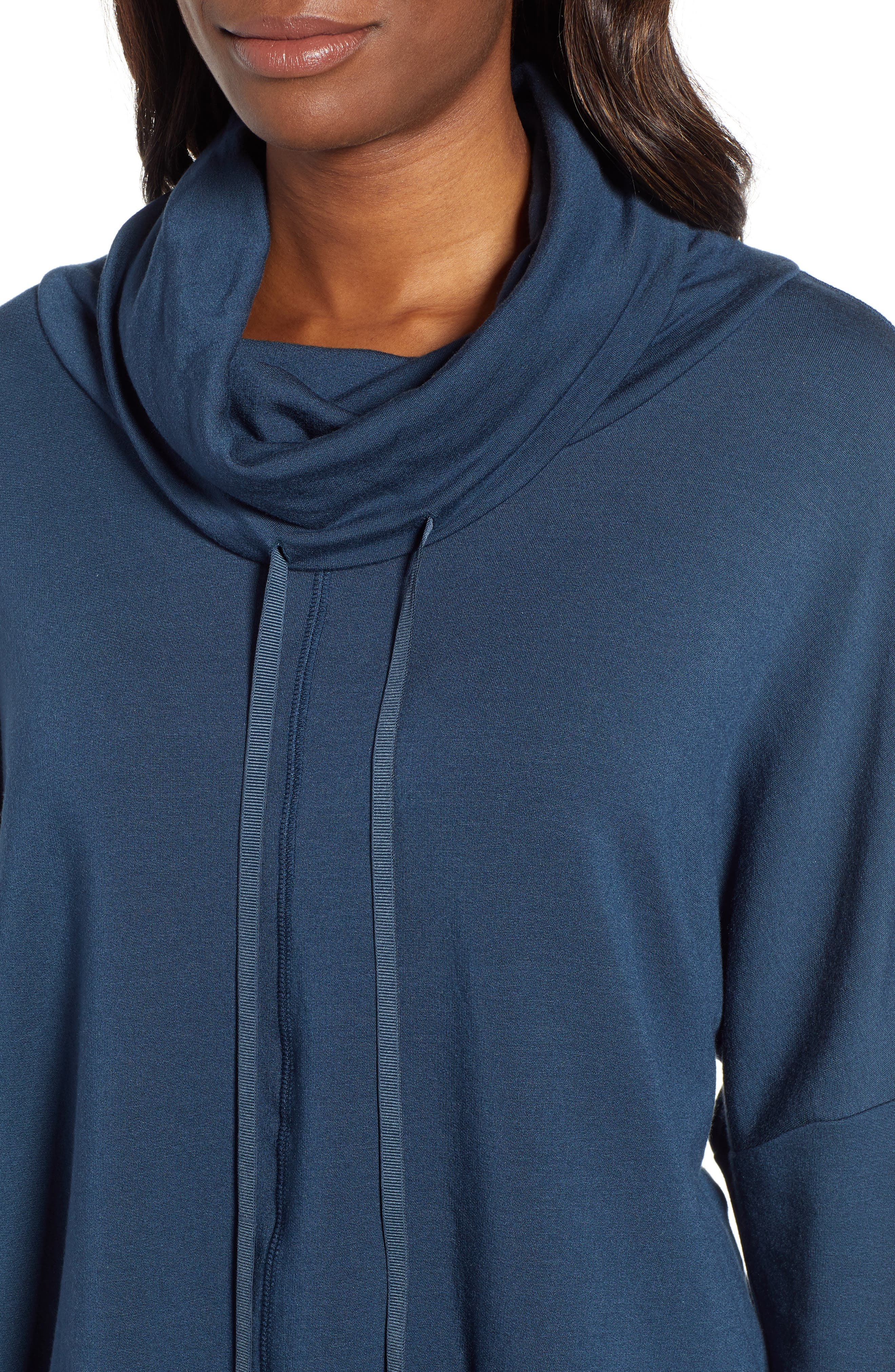 Off-Duty Funnel Neck Sweatshirt,                             Alternate thumbnail 4, color,                             TEAL ABYSS