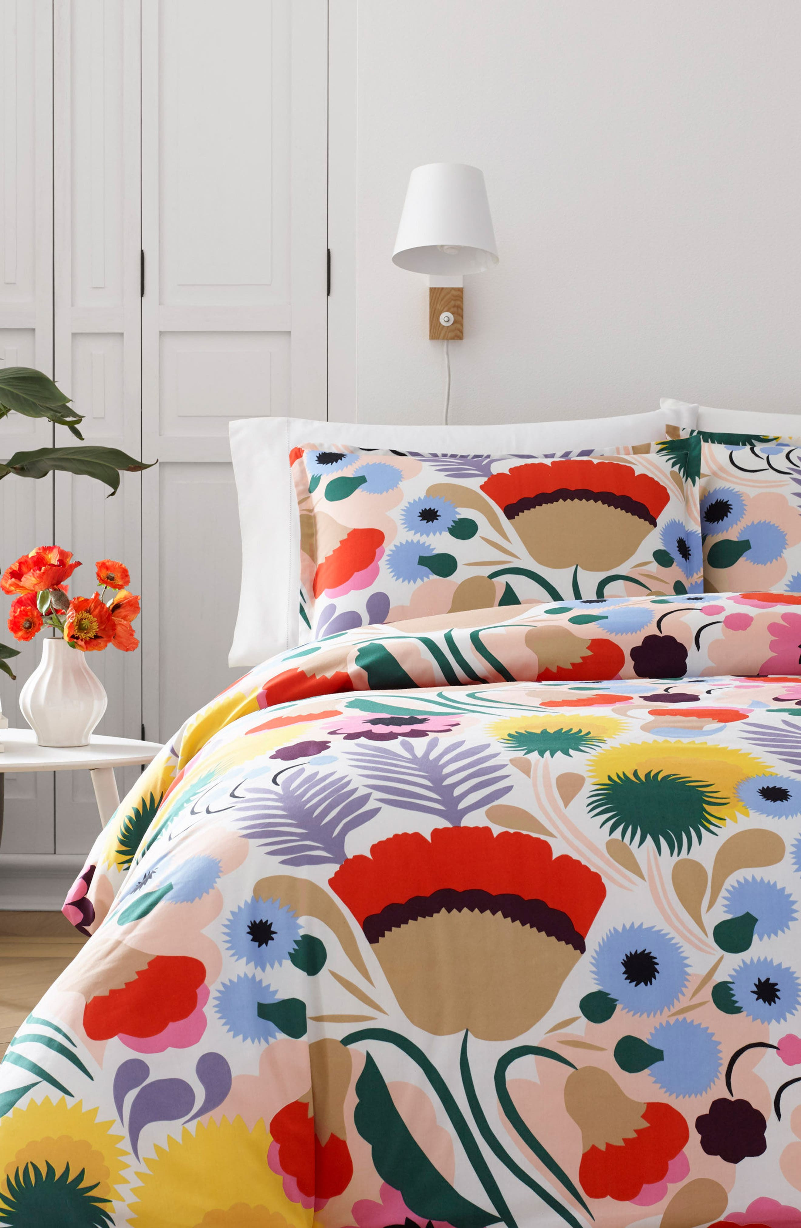 Ojakellukka Duvet Cover & Sham Set,                         Main,                         color, BLUE/ MULTI