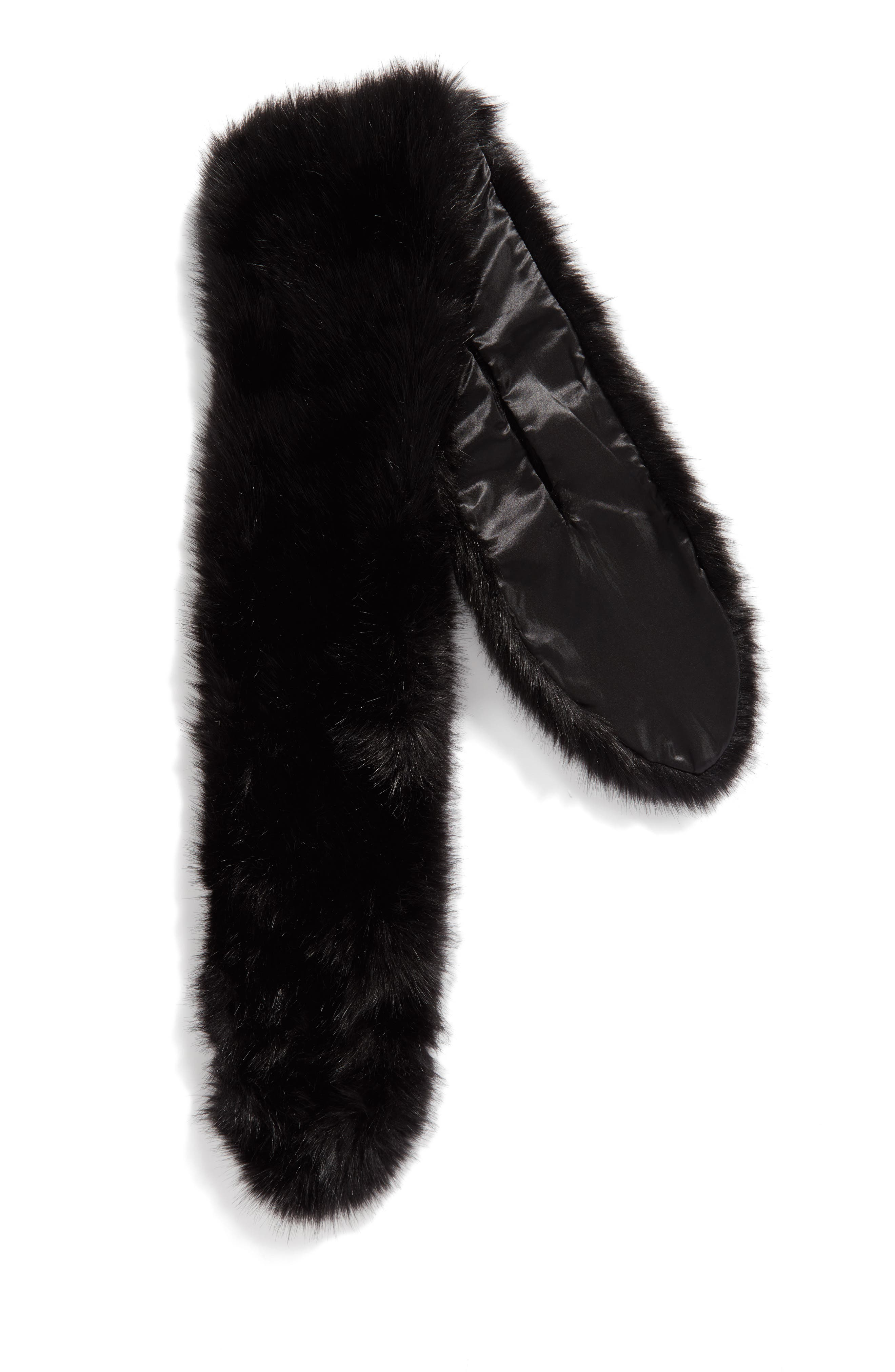 Oversize Faux Fur Wrap,                             Alternate thumbnail 3, color,                             001