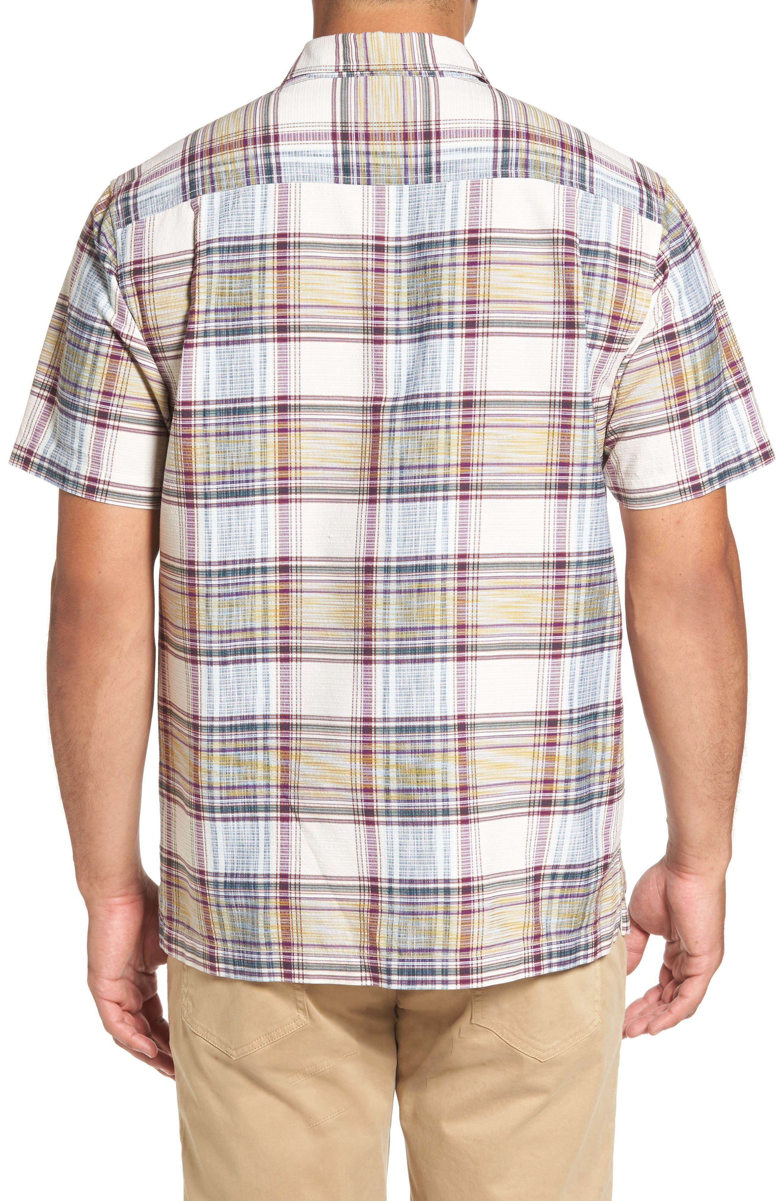 Lazlo Plaid Standard Fit Silk & Cotton Camp Shirt,                             Alternate thumbnail 2, color,                             100