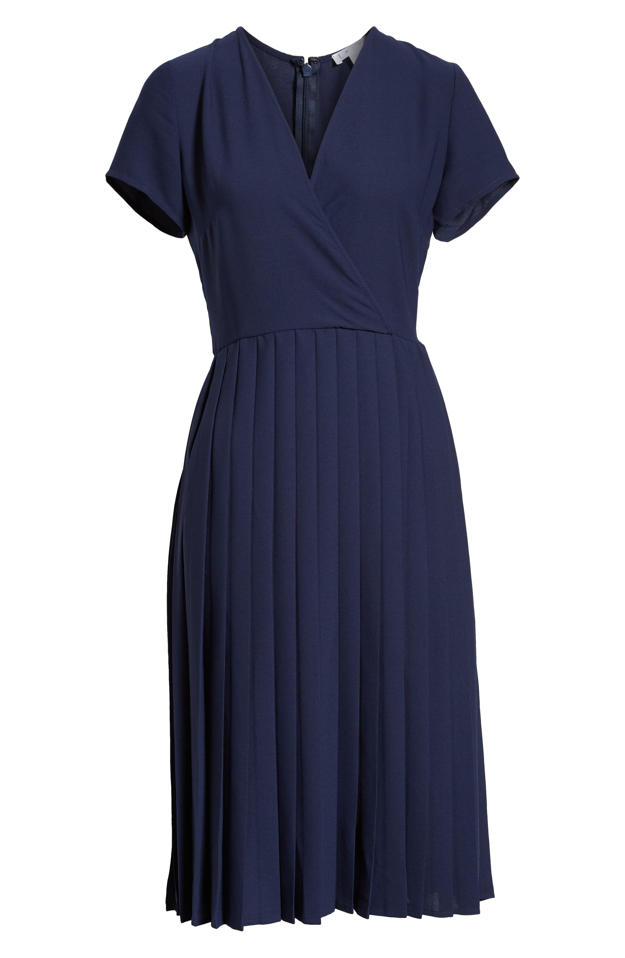 LEITH,                             Pleated Surplice Dress,                             Alternate thumbnail 8, color,                             NAVY PEACOAT