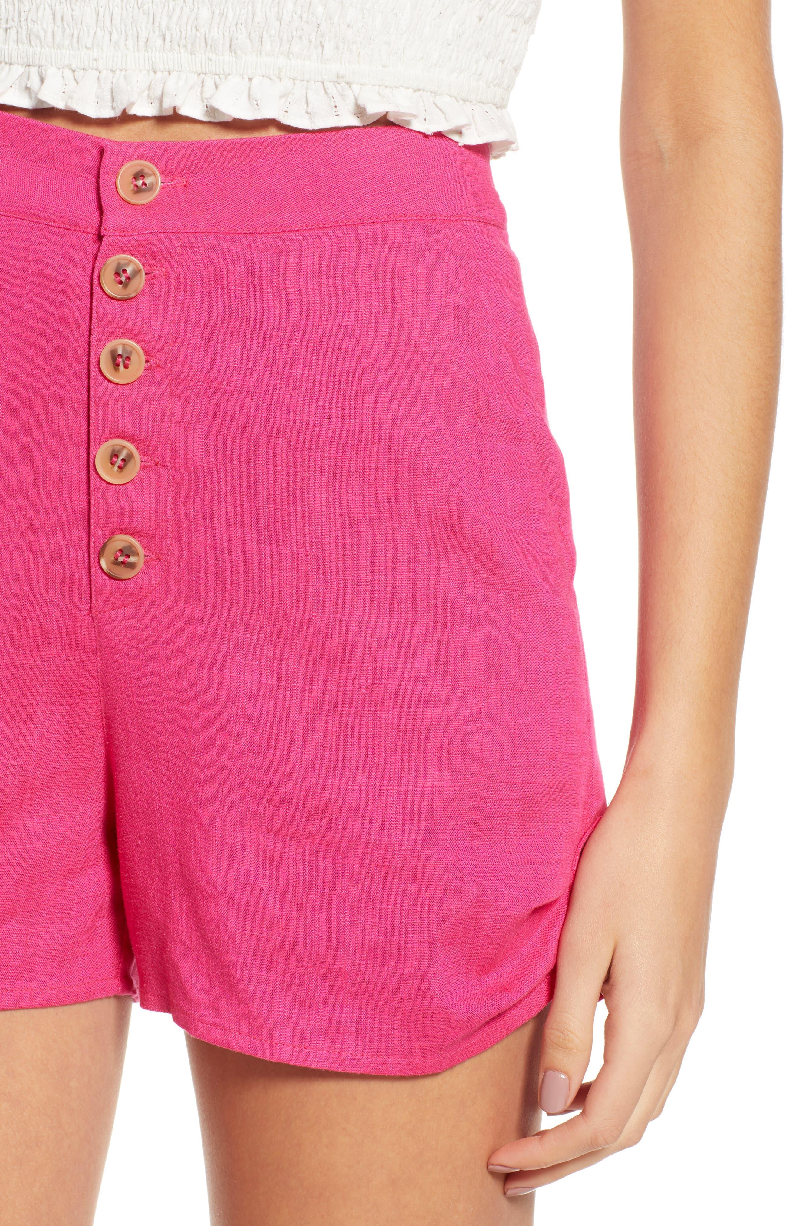 Button Front Linen & Cotton Shorts,                             Alternate thumbnail 4, color,                             650