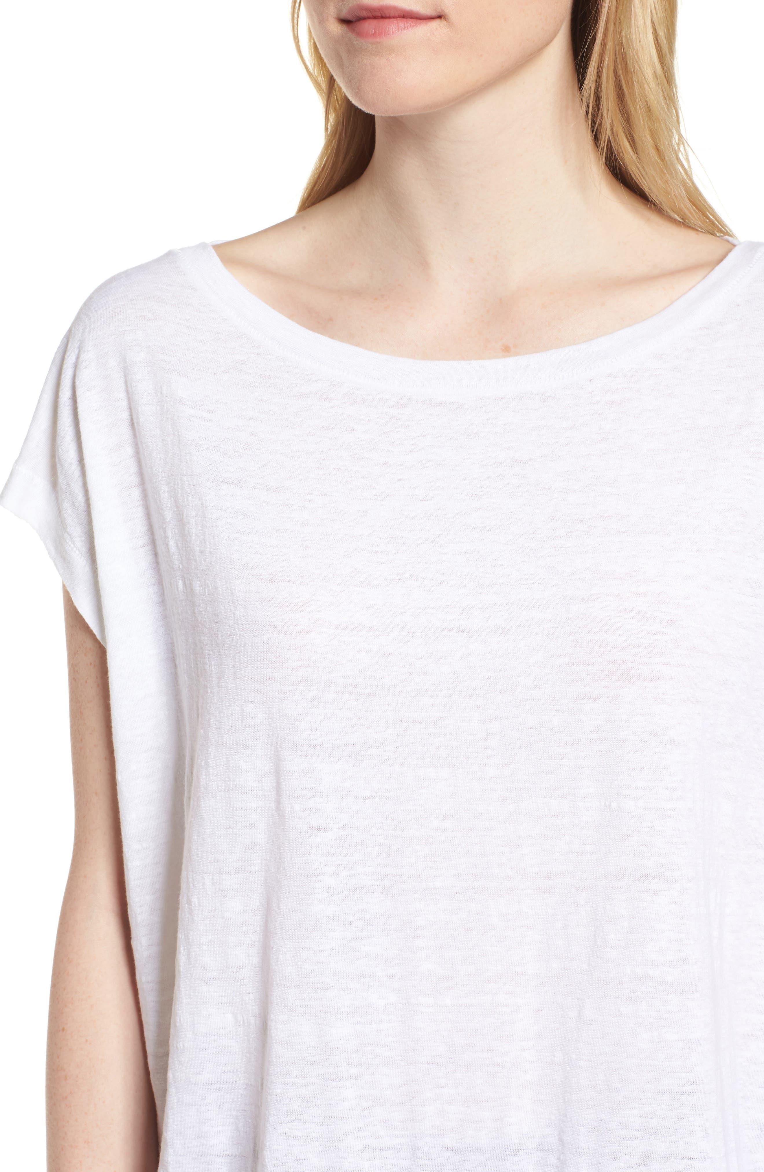 Organic Linen Top,                             Alternate thumbnail 4, color,                             100