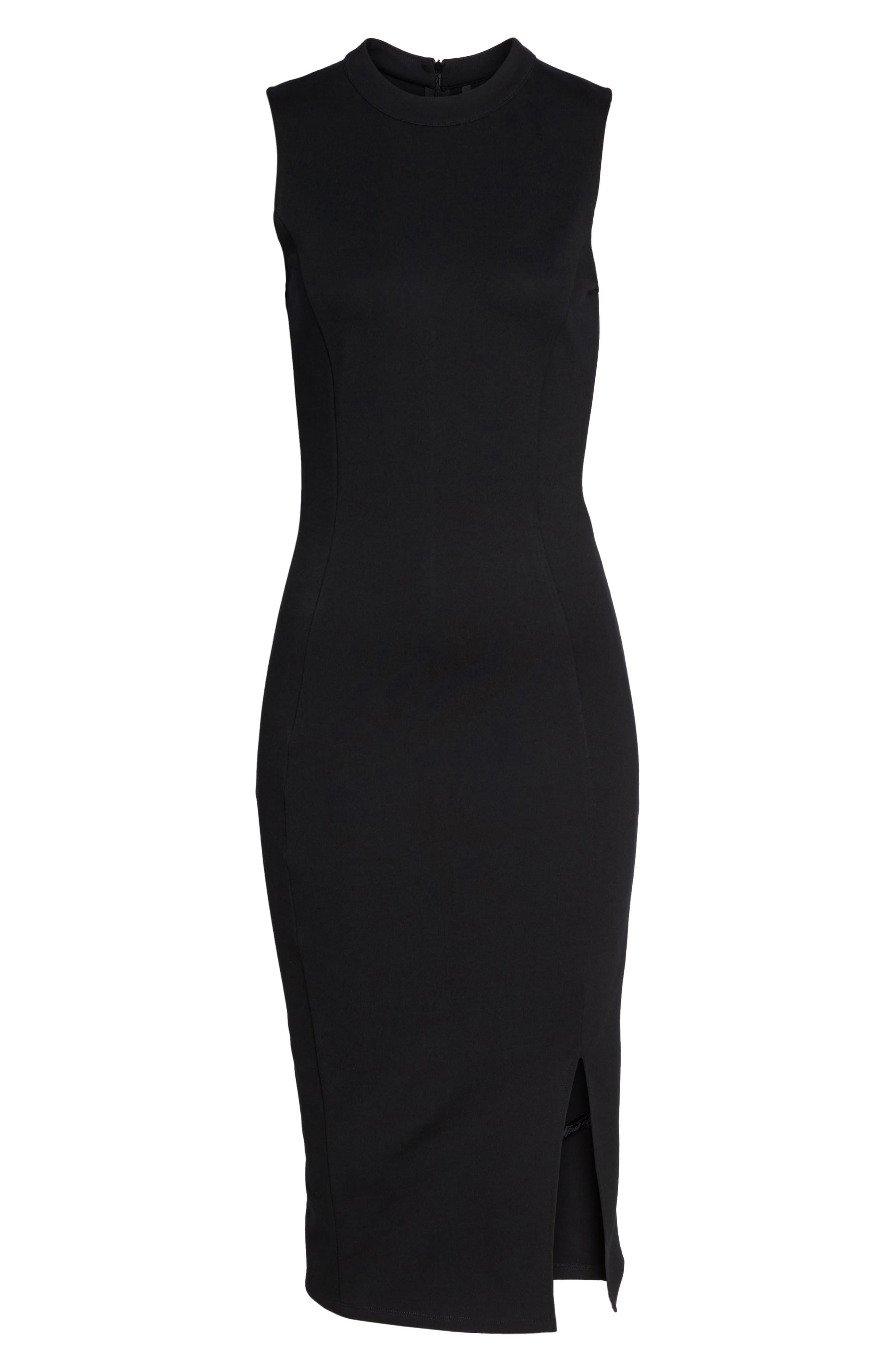 Pepa Mock Neck Sheath Dress,                             Alternate thumbnail 7, color,                             001