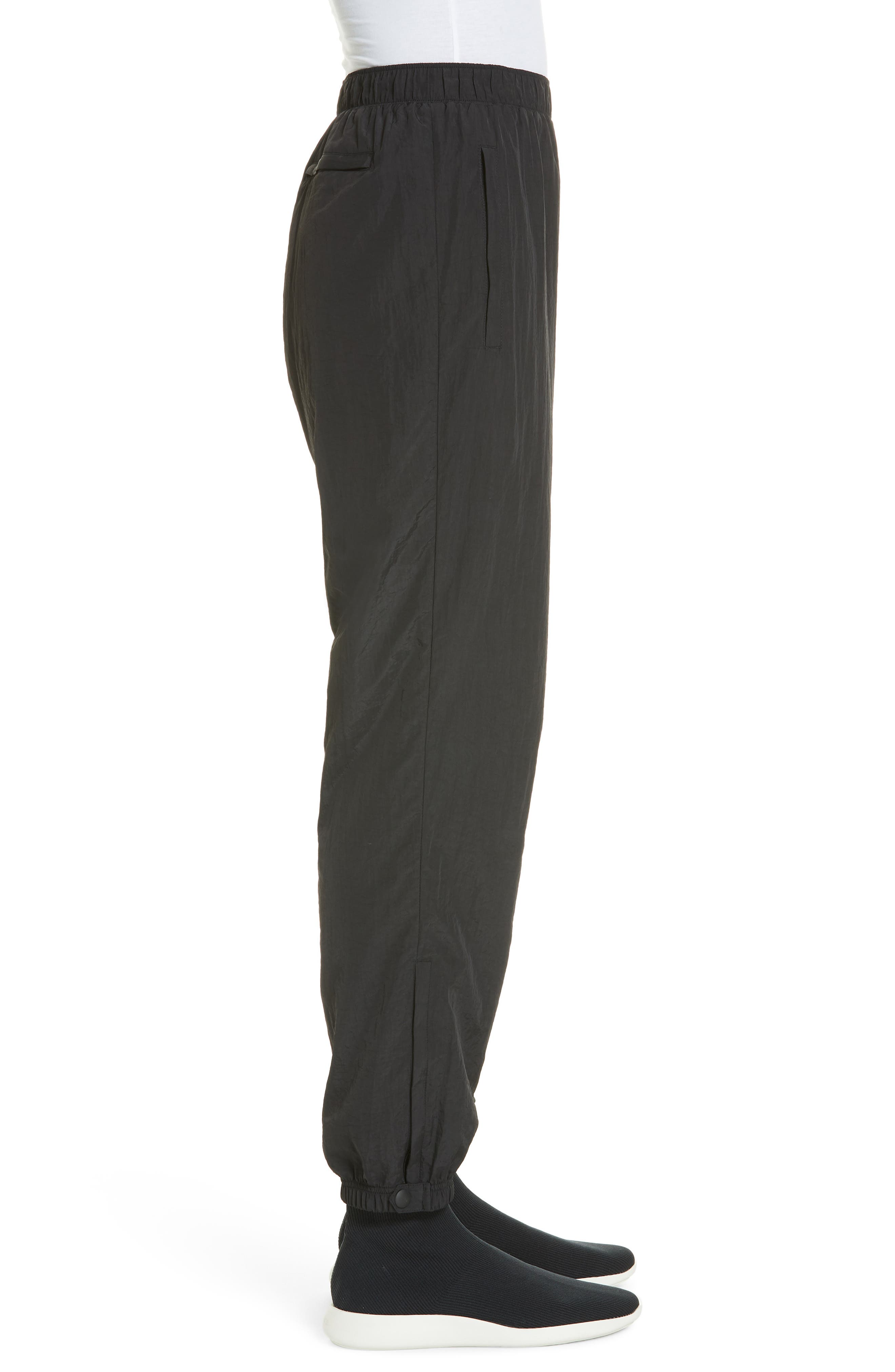 Crinkle Nylon Jogging Pants,                             Alternate thumbnail 3, color,                             BLACK