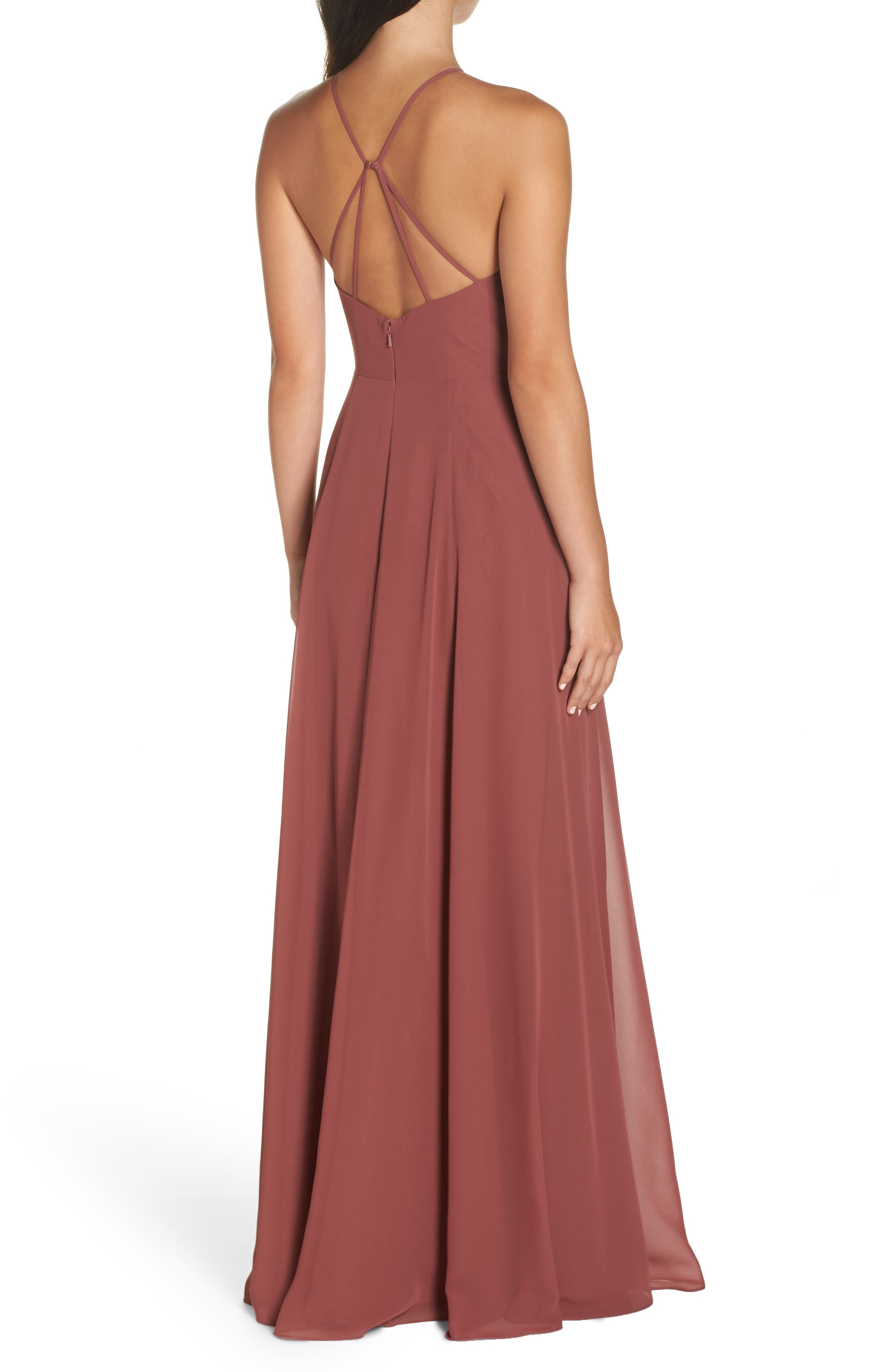 Kayla A-Line Halter Gown,                             Alternate thumbnail 2, color,                             CINNAMON ROSE