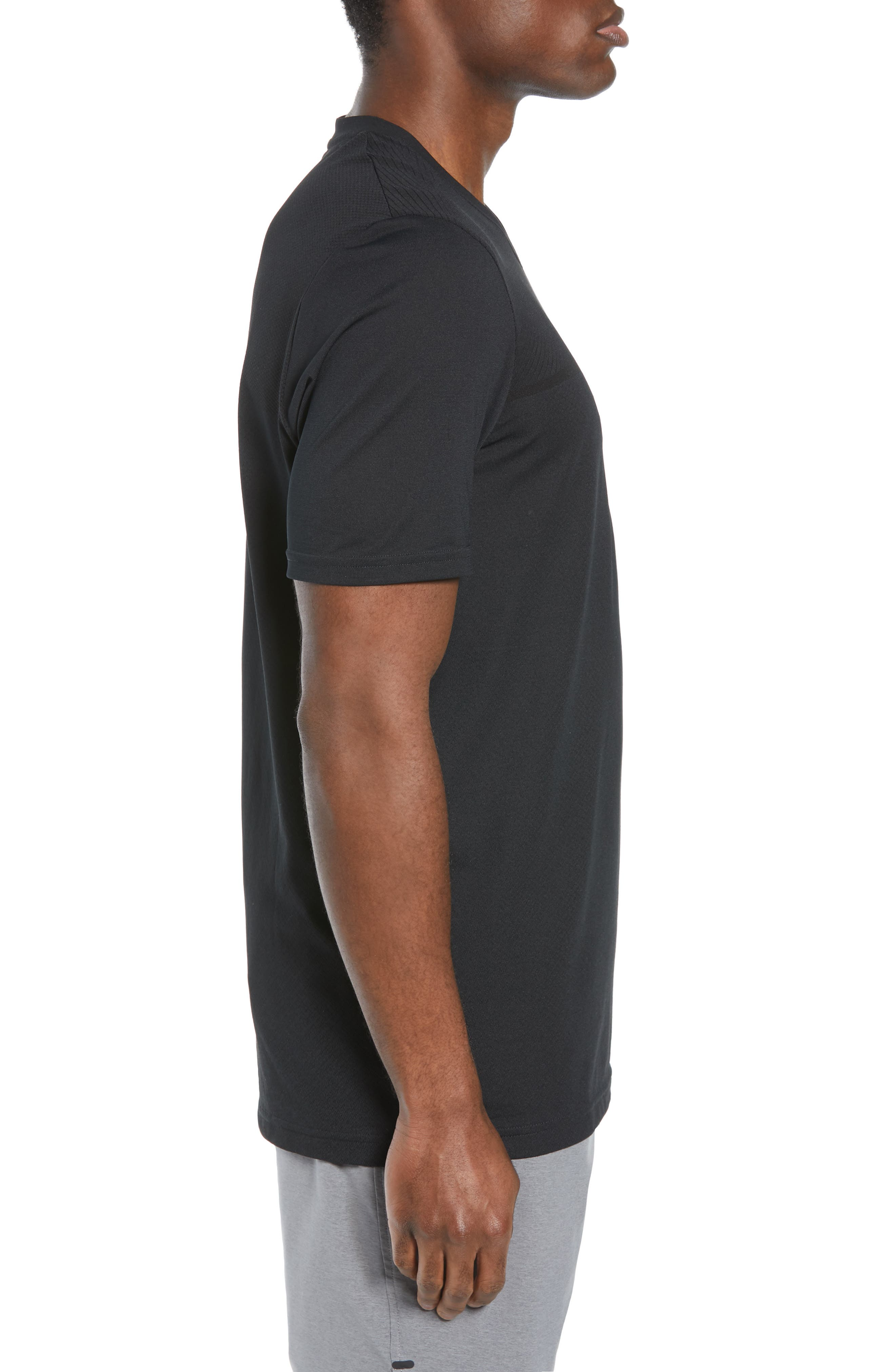 Vanish Seamless V-Neck T-Shirt,                             Alternate thumbnail 3, color,                             BLACK