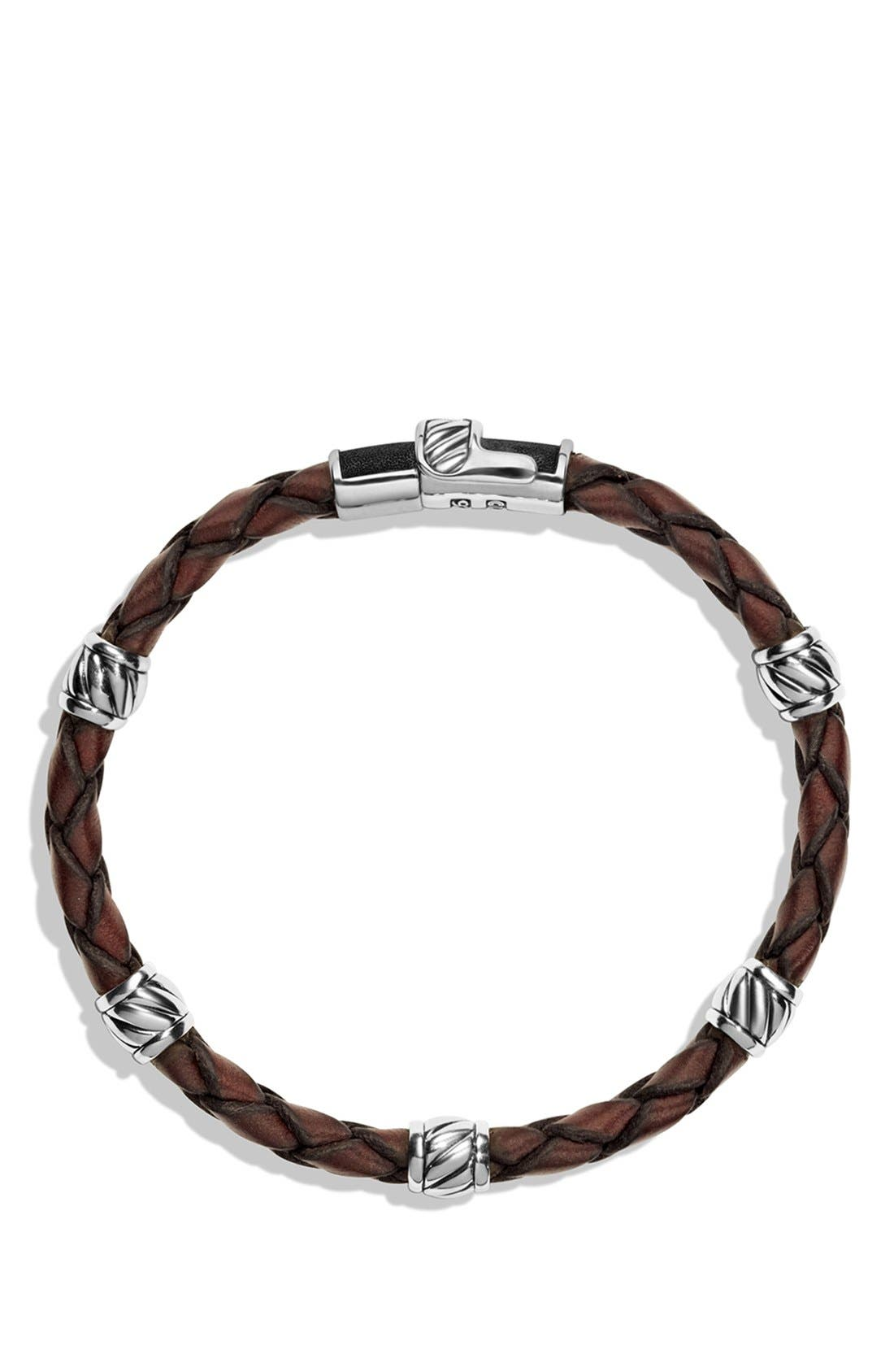 'Cable Classics' Leather Station Bracelet in Brown,                             Alternate thumbnail 2, color,                             201