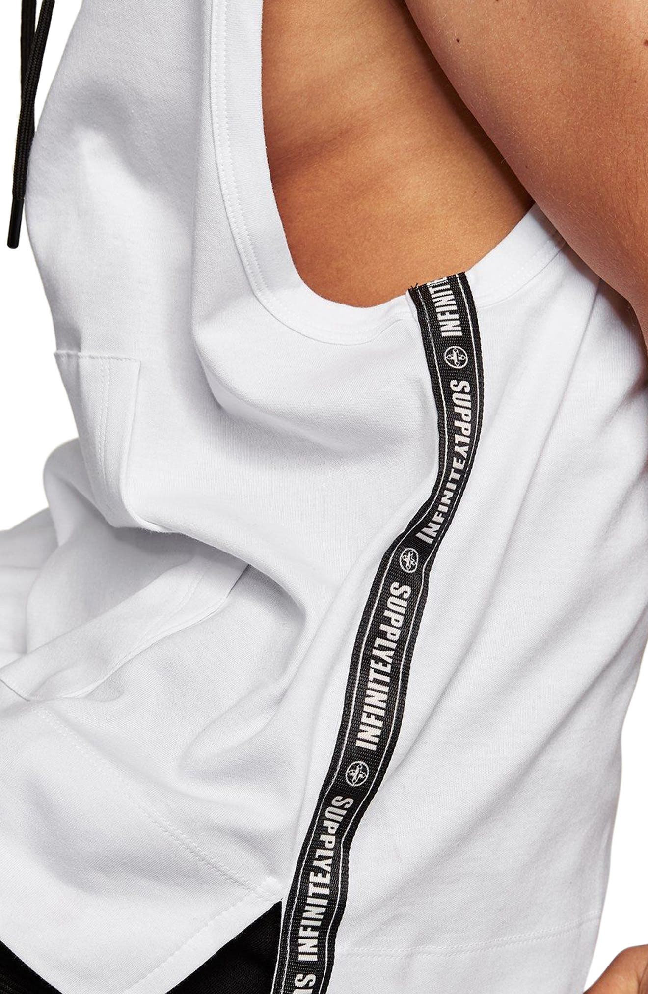 Classic Fit Taped Sleeveless Hoodie,                             Alternate thumbnail 4, color,                             100