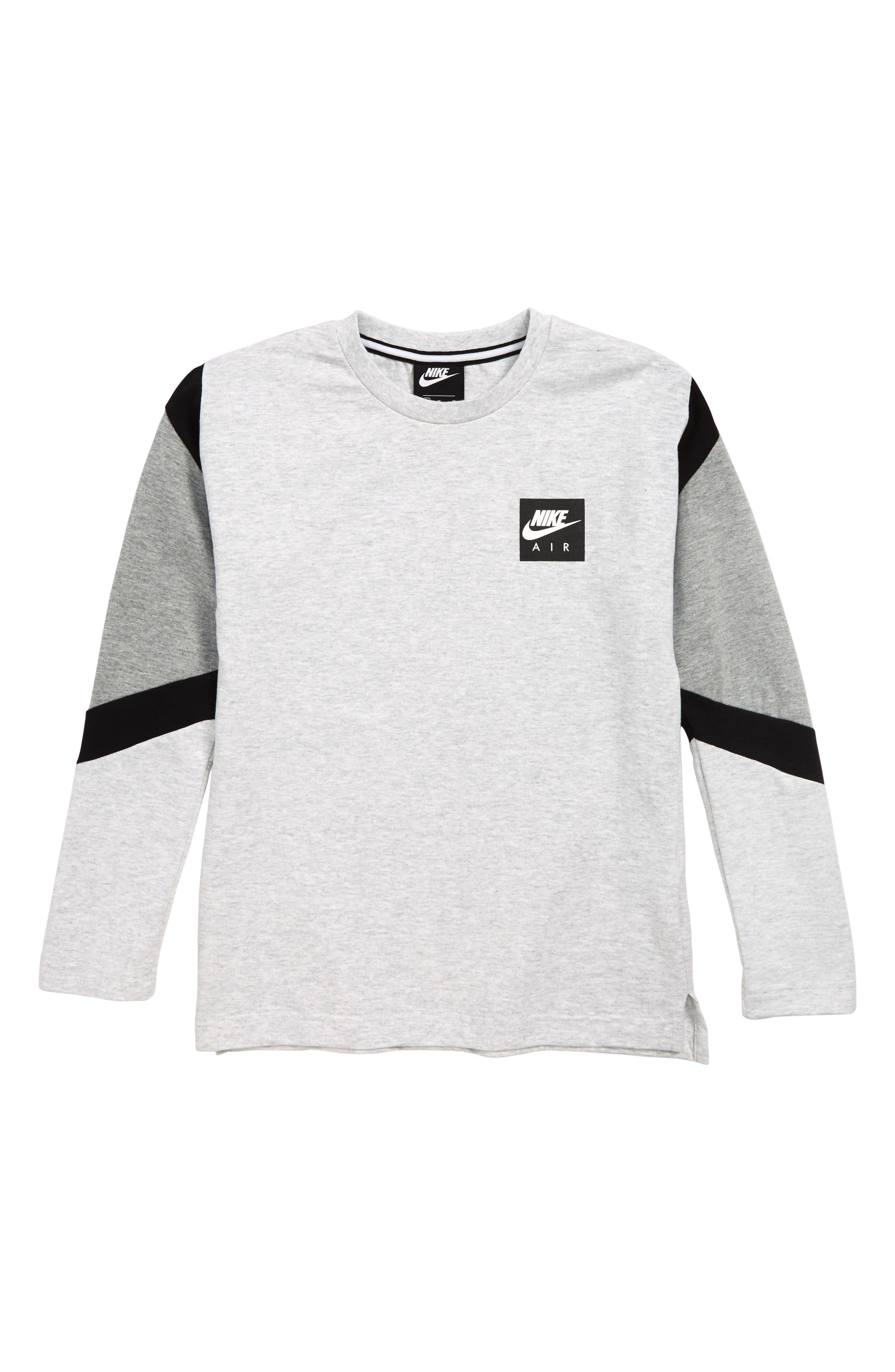 NIKE,                             Air Long Sleeve T-Shirt,                             Main thumbnail 1, color,                             BIRCH HEATHER