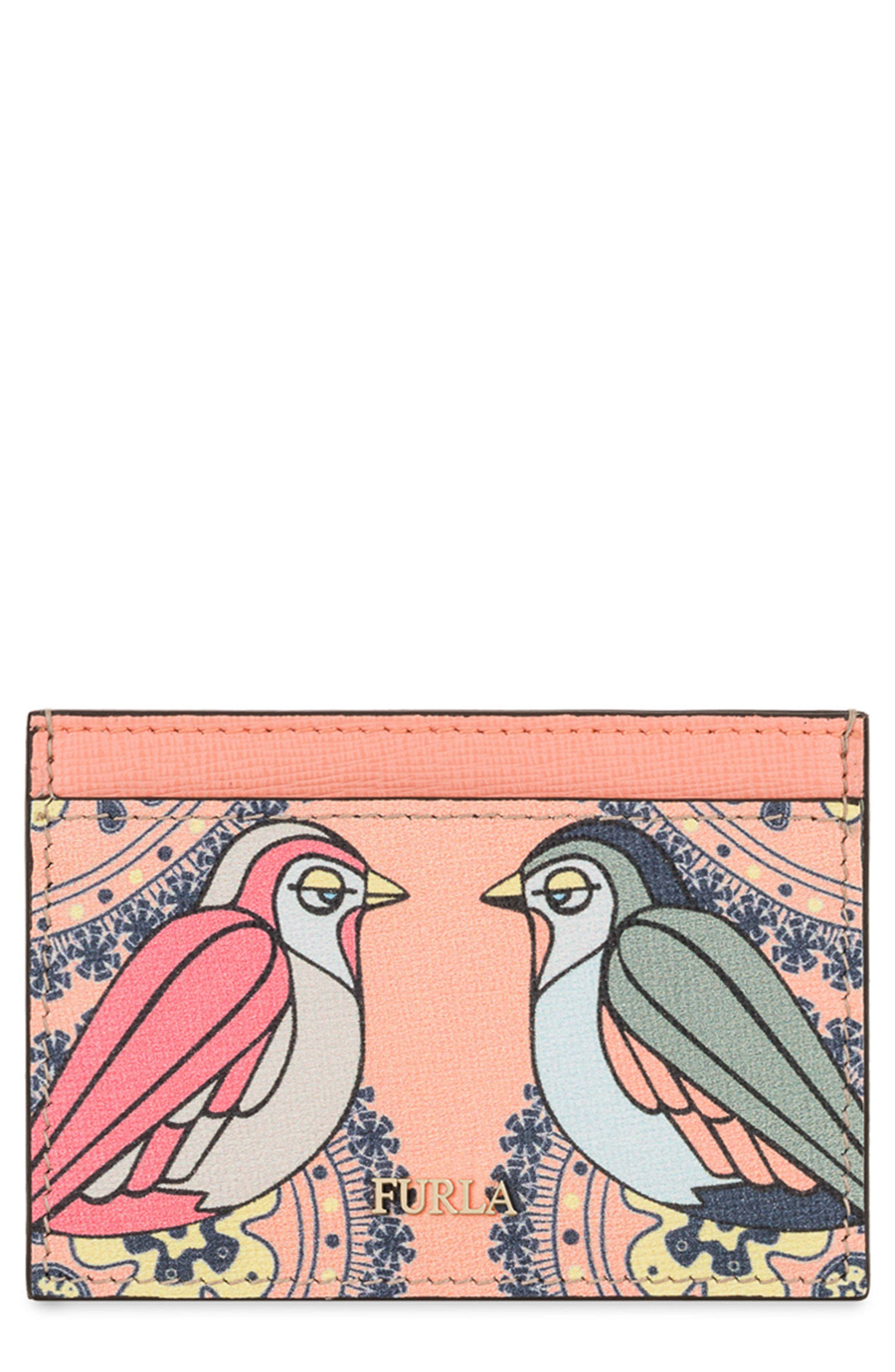 Babylon Saffiano Leather Card Case,                             Main thumbnail 4, color,