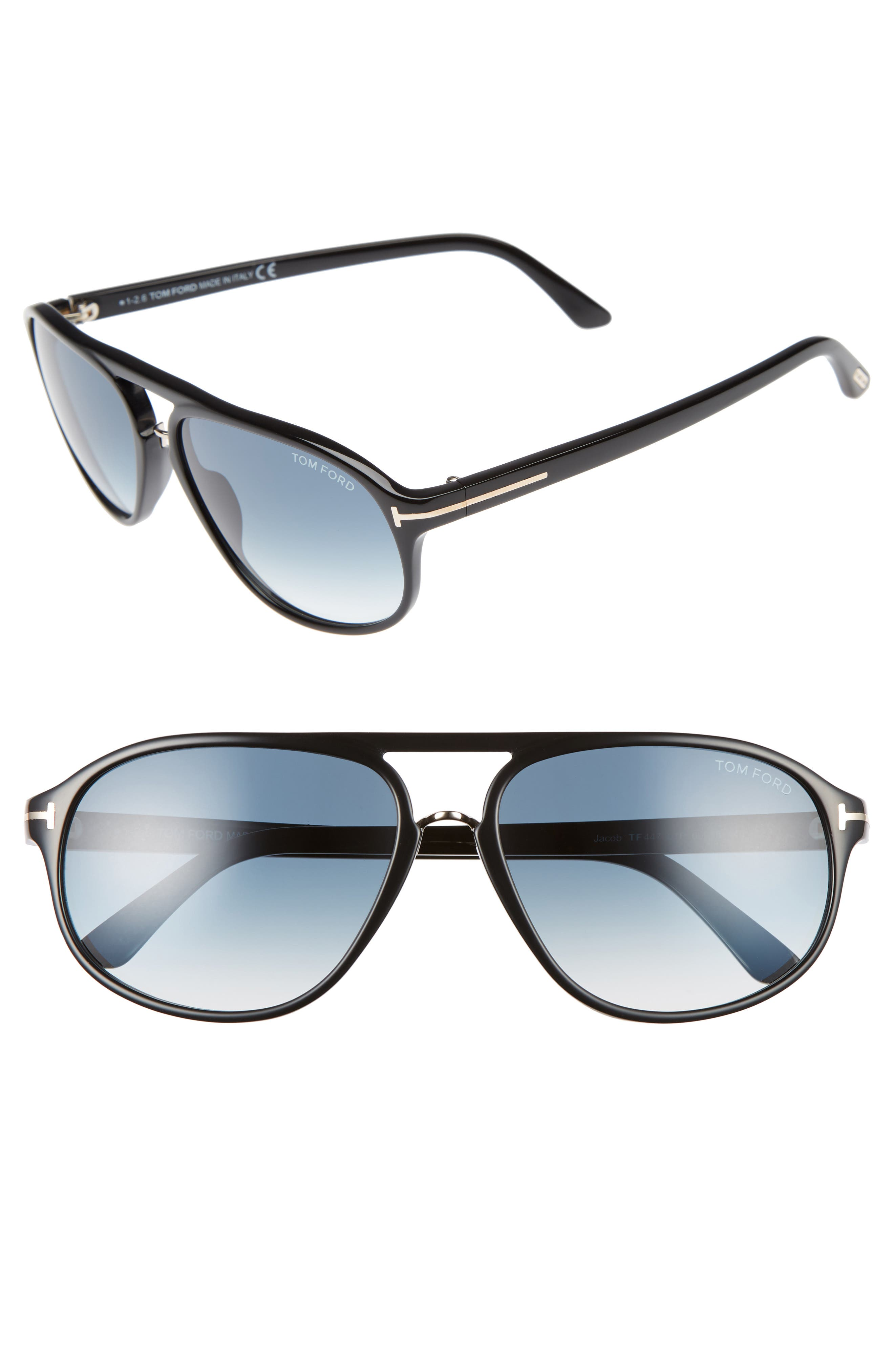 Jacob 60mm Retro Sunglasses,                             Main thumbnail 1, color,                             001