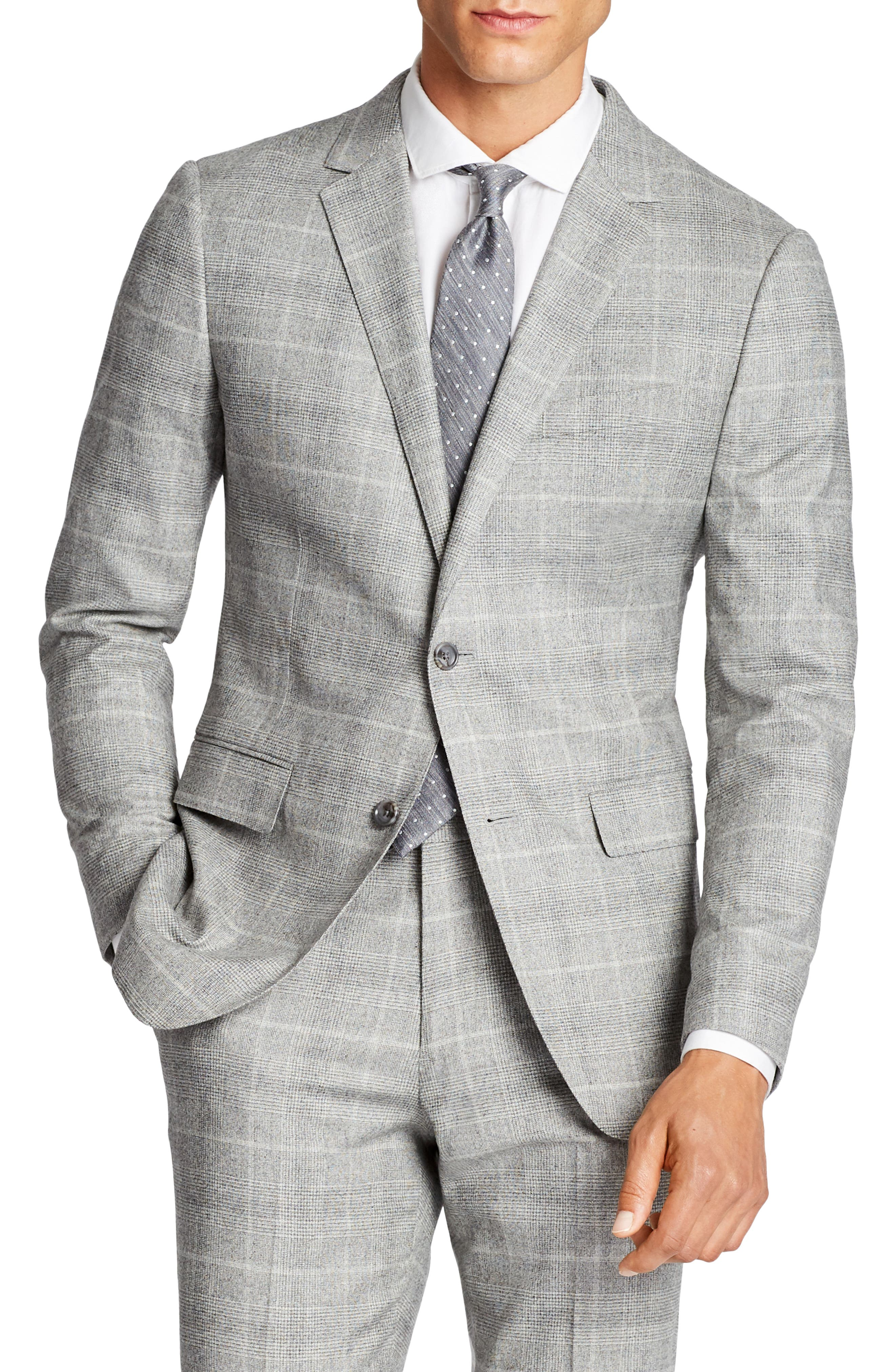 Jetsetter Slim Fit Plaid Stretch Wool Sport Coat,                         Main,                         color, 020