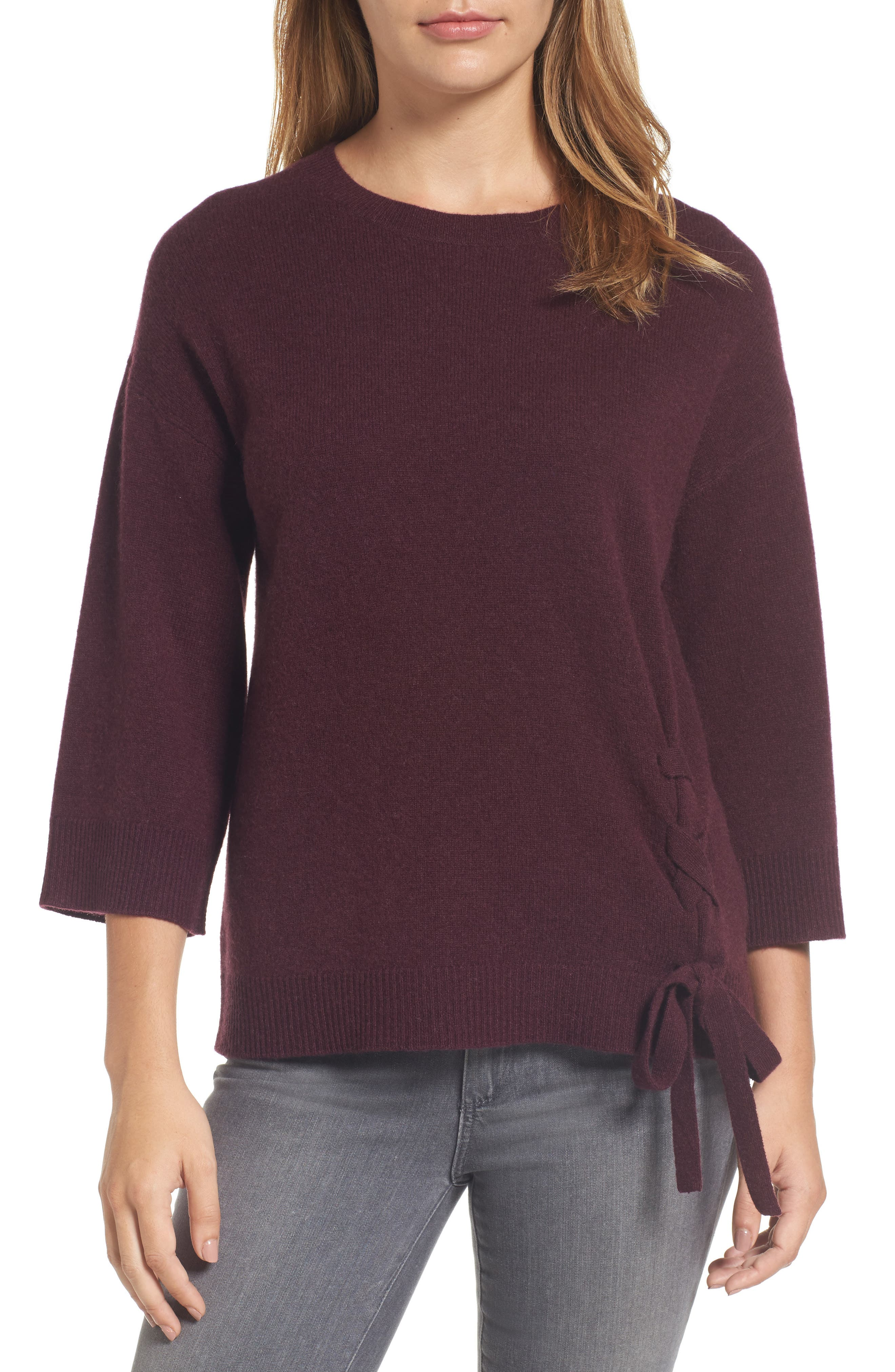 Side Tie Wool and Cashmere Sweater,                             Main thumbnail 6, color,