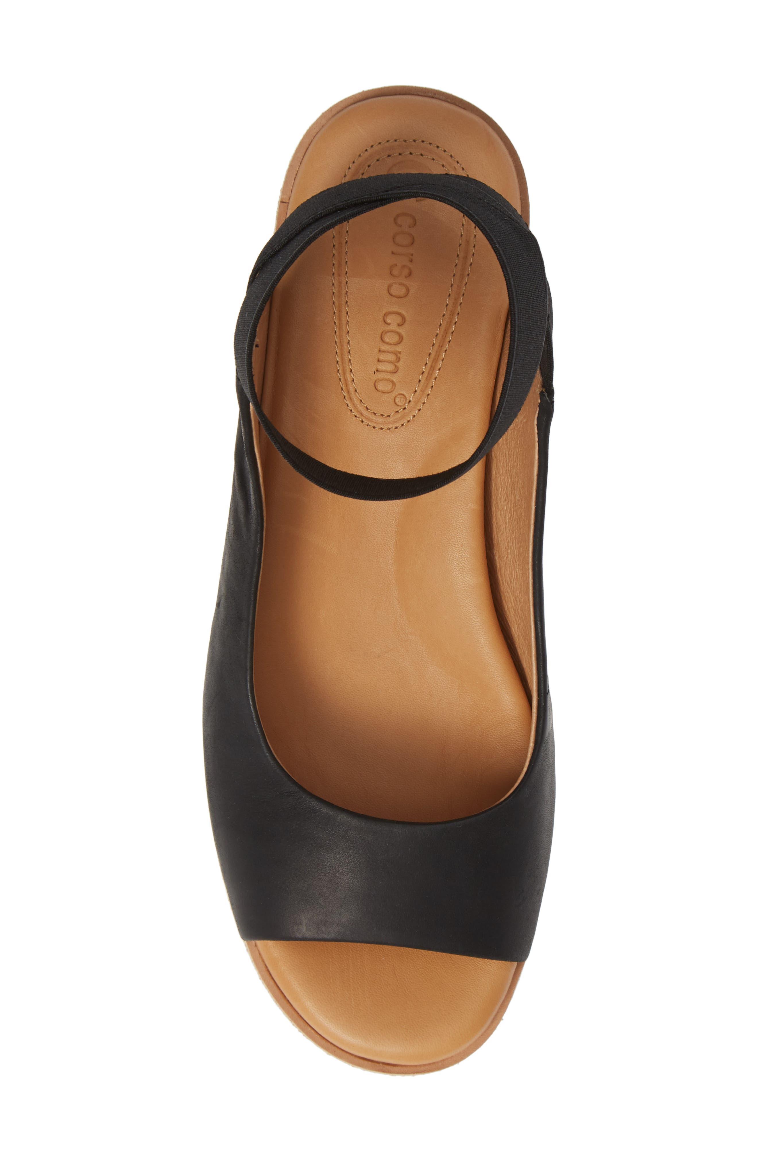 Beeata Wedge Sandal,                             Alternate thumbnail 5, color,                             BLACK LEATHER