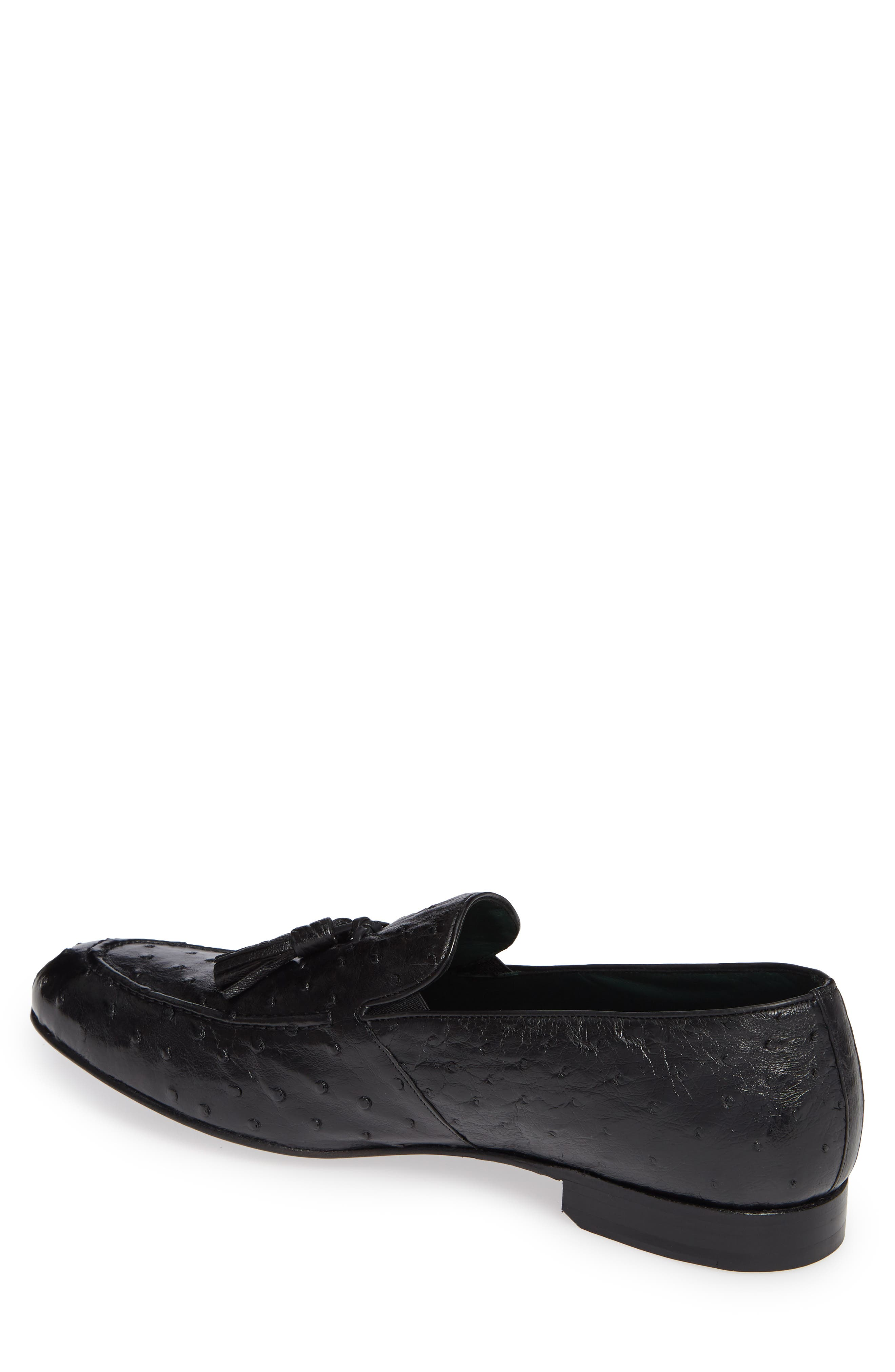 Conte Tassel Ostrich Leather Loafer,                             Alternate thumbnail 2, color,                             BLACK LEATHER