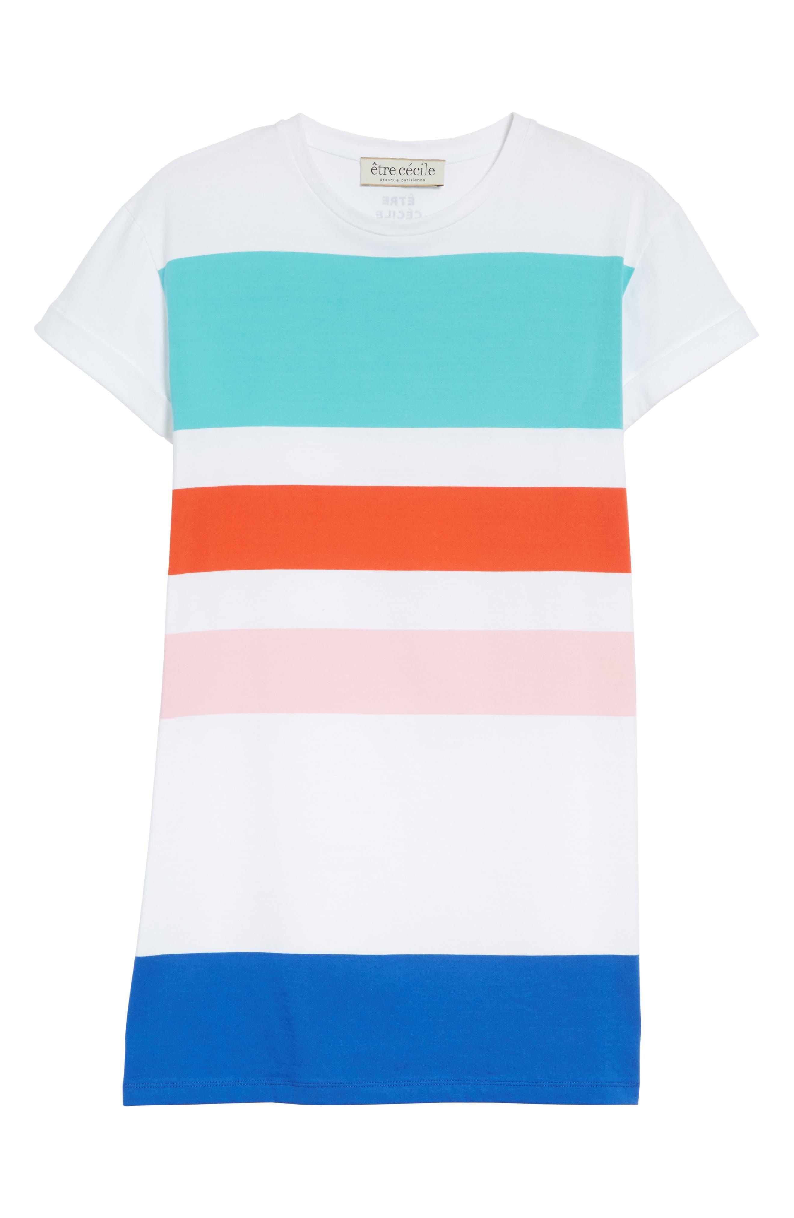 être cécile Big Stripe Oversize Dress,                             Alternate thumbnail 6, color,                             100
